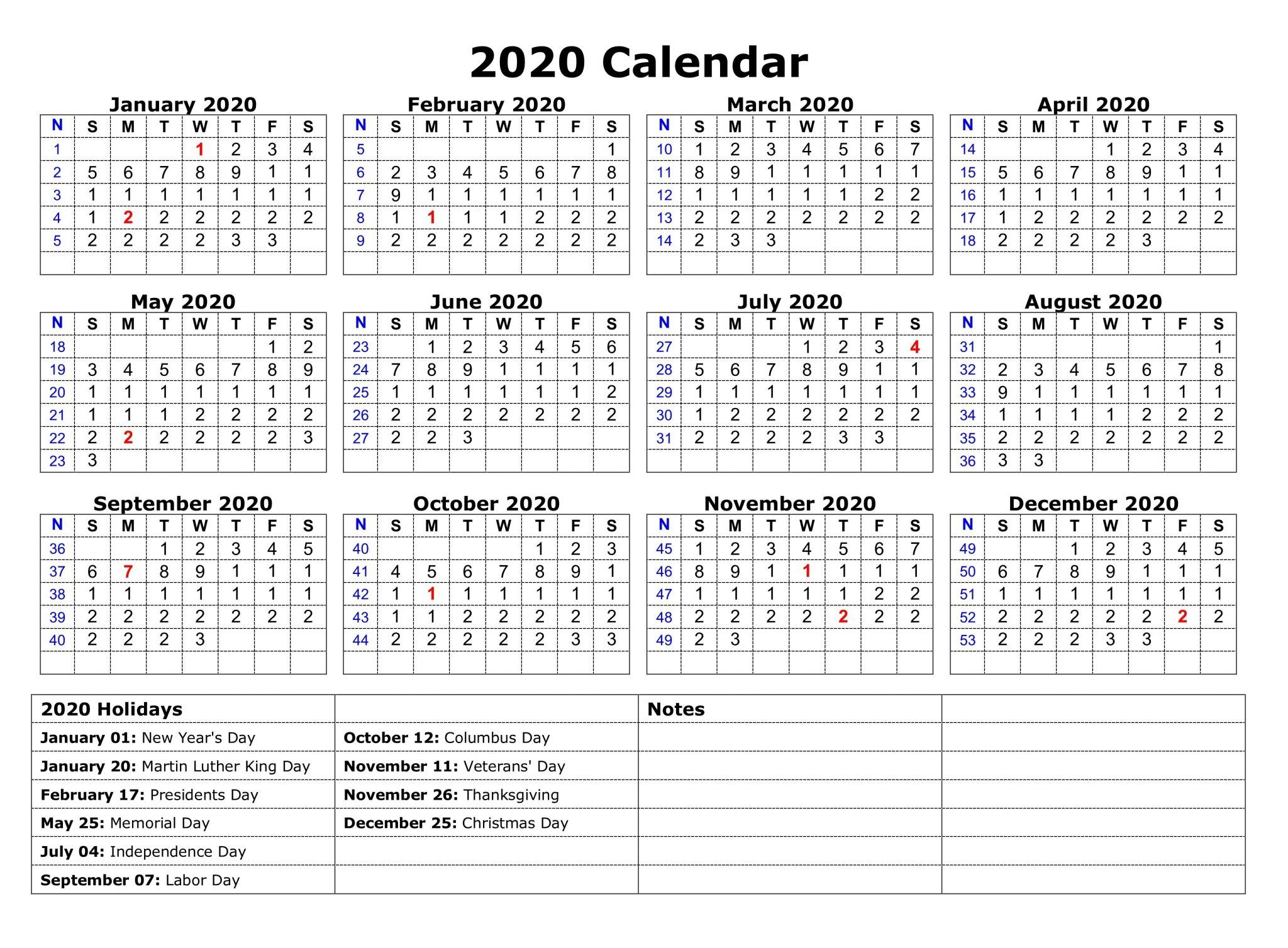 Printable 2020 One Page Holidays Calendar | Holiday Calendar
