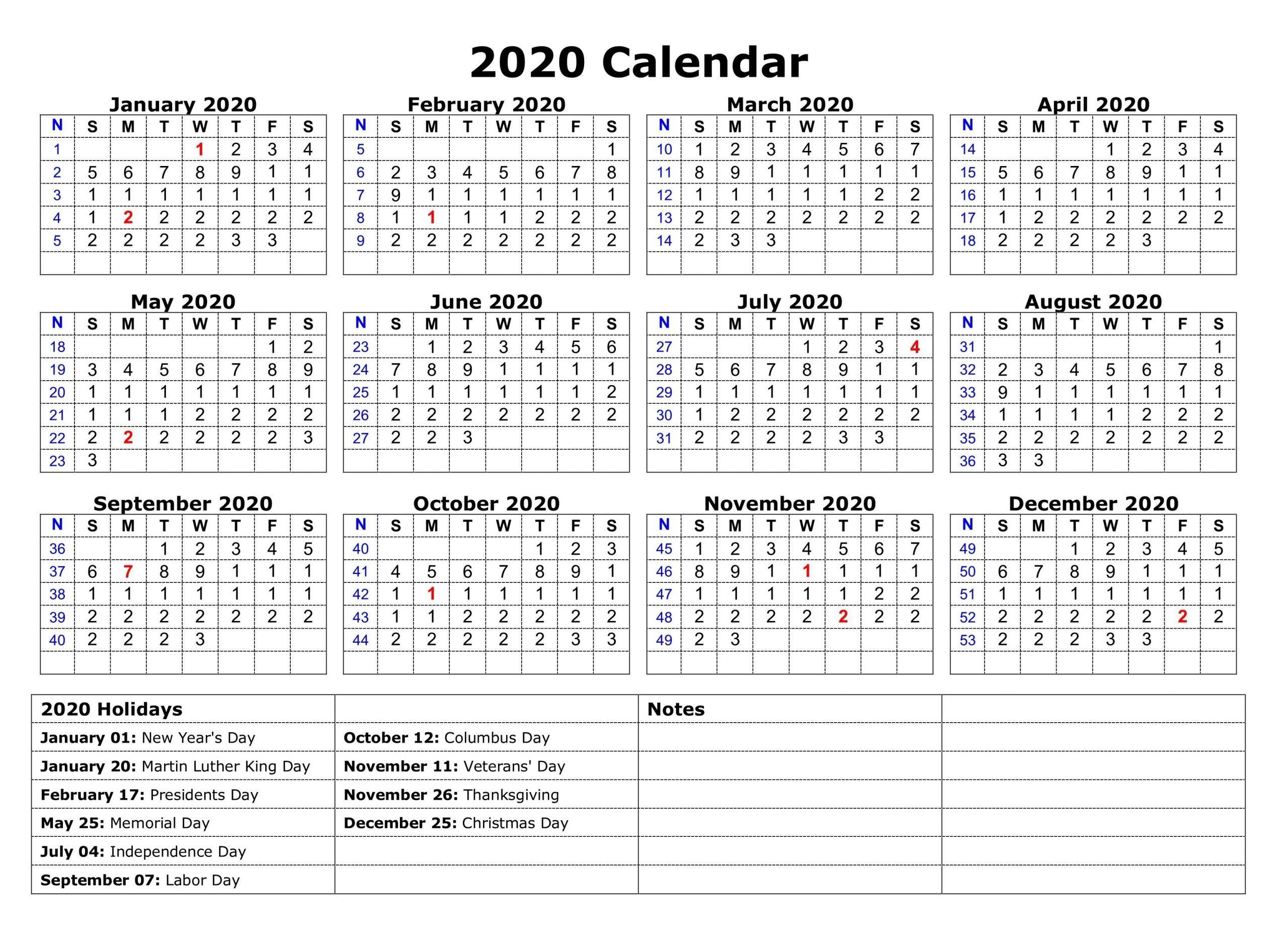 Printable 2020 One Page Holidays Calendar | November