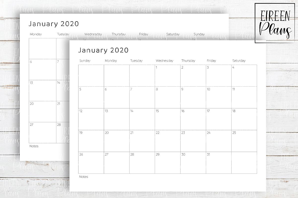 Printable 2020 Write-On Minimalist Calendar