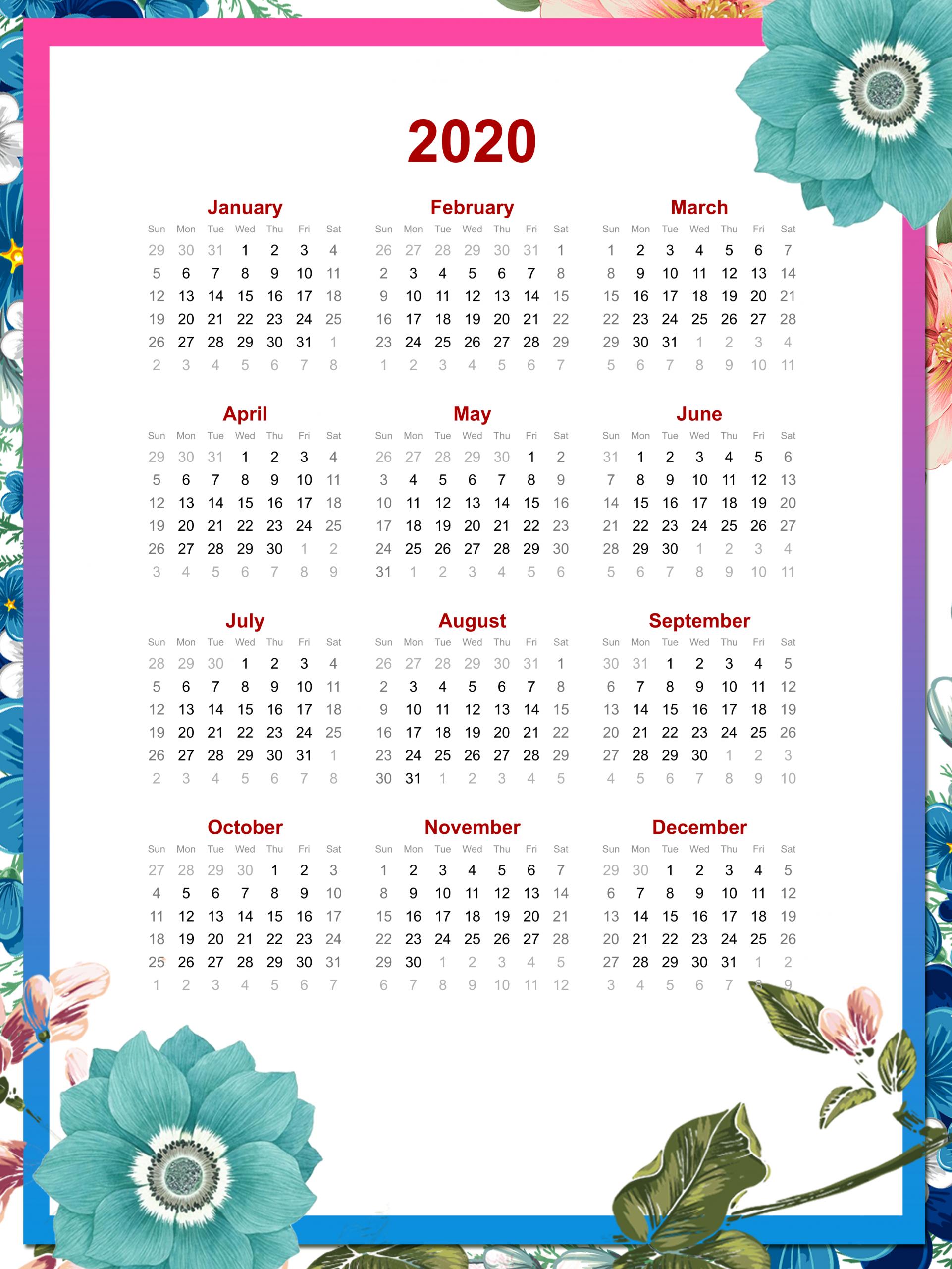 Printable 2020 Yearly Calendar