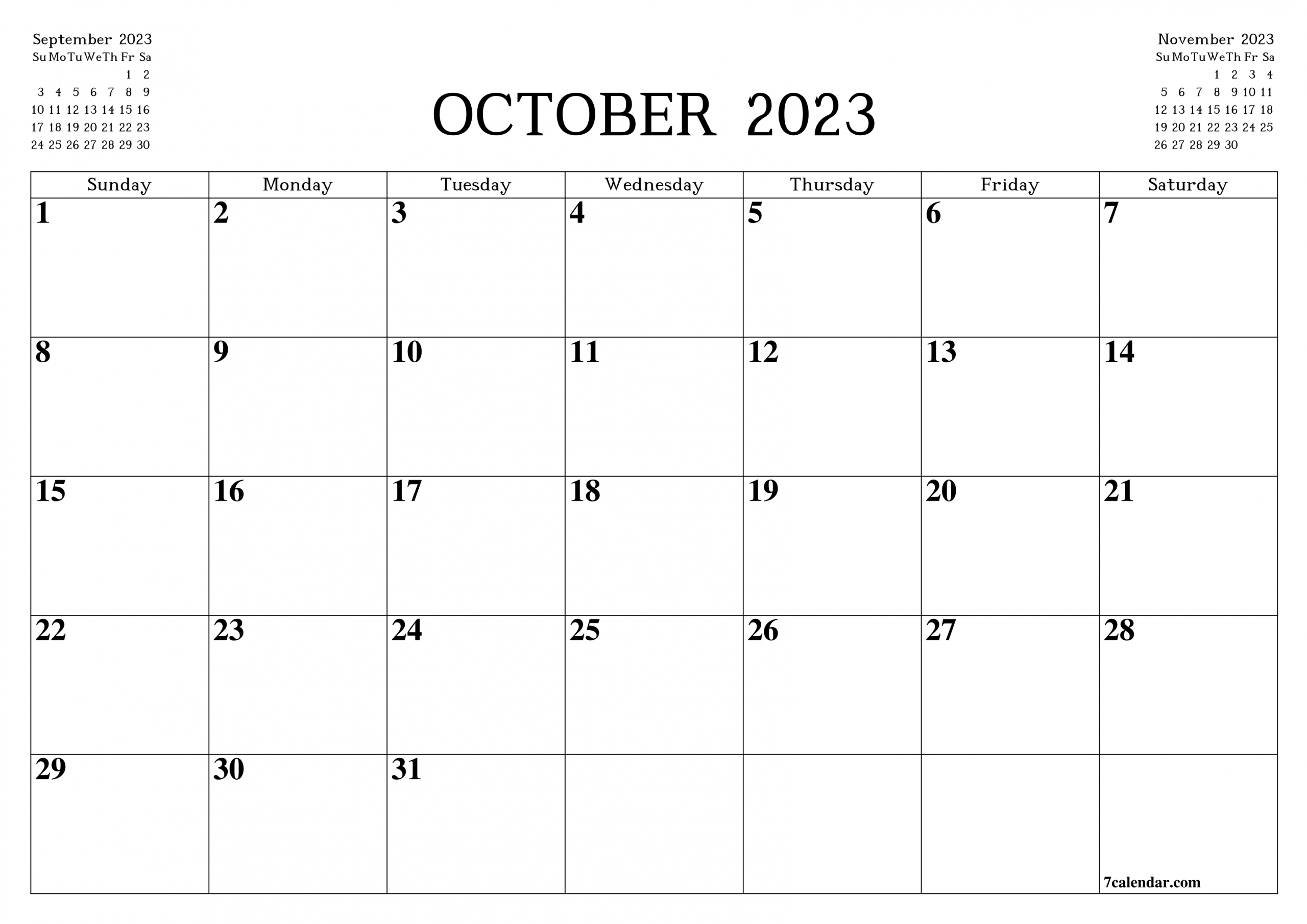 Printable Blank Monthly Planner For October 2023 - A4, A5