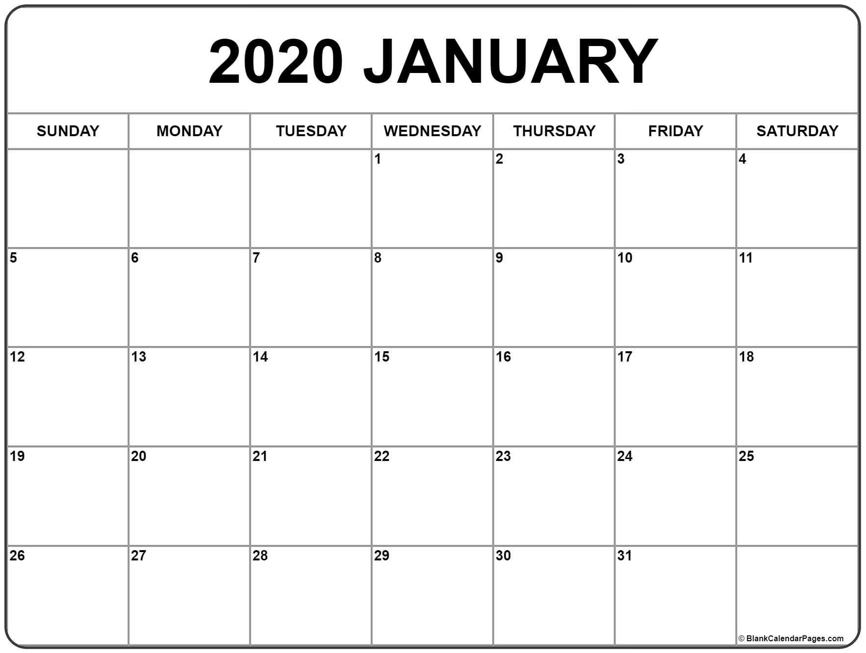 Collect January 2020 8X 11 Printable Calendar