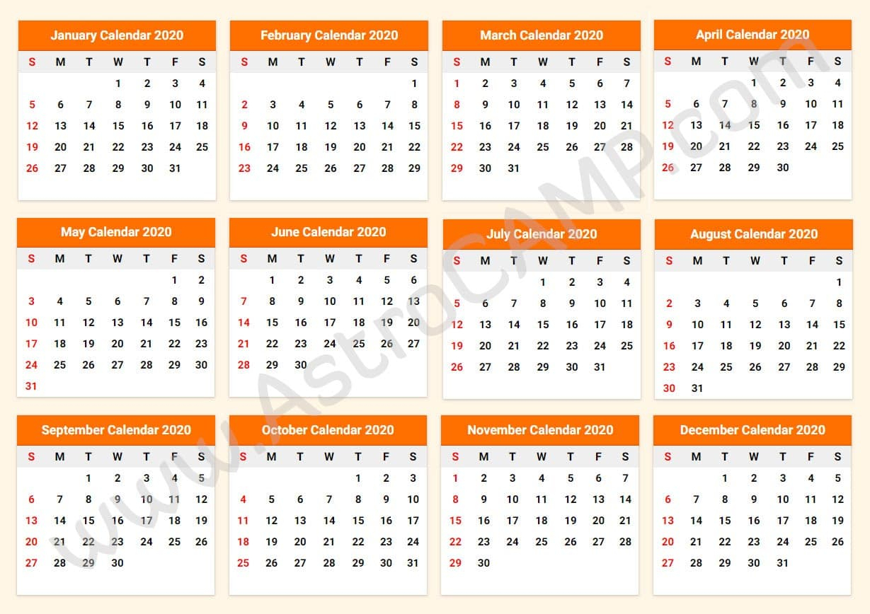 Printable Calendar 2020: Download Free Printable Calendar