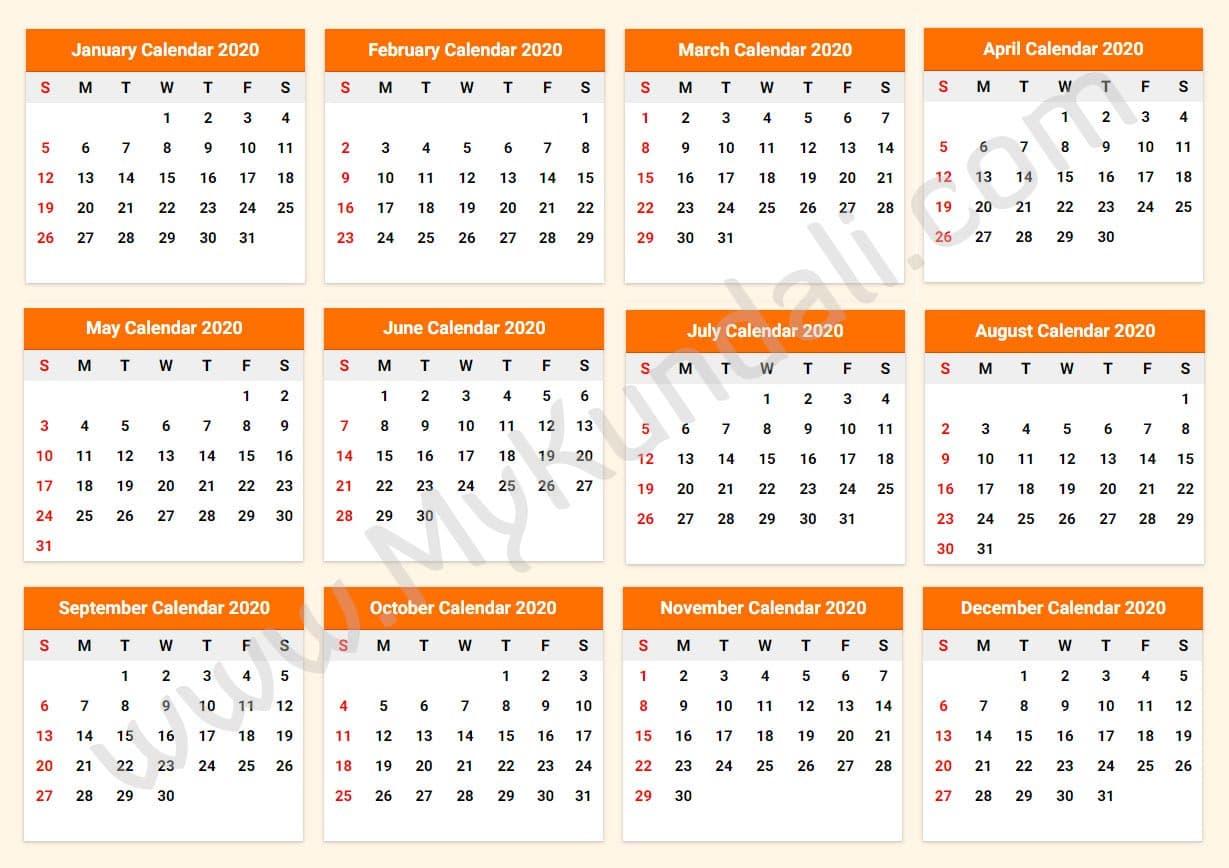 Printable Calendar 2020 - Download Free Printable Calendar 2020