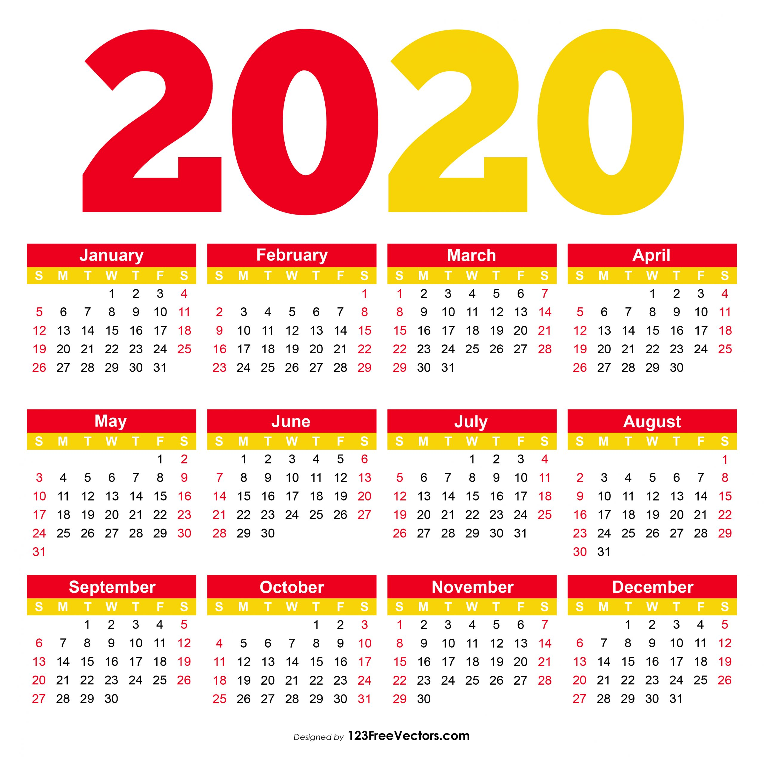Take Printable 2020 Pocket Calenders