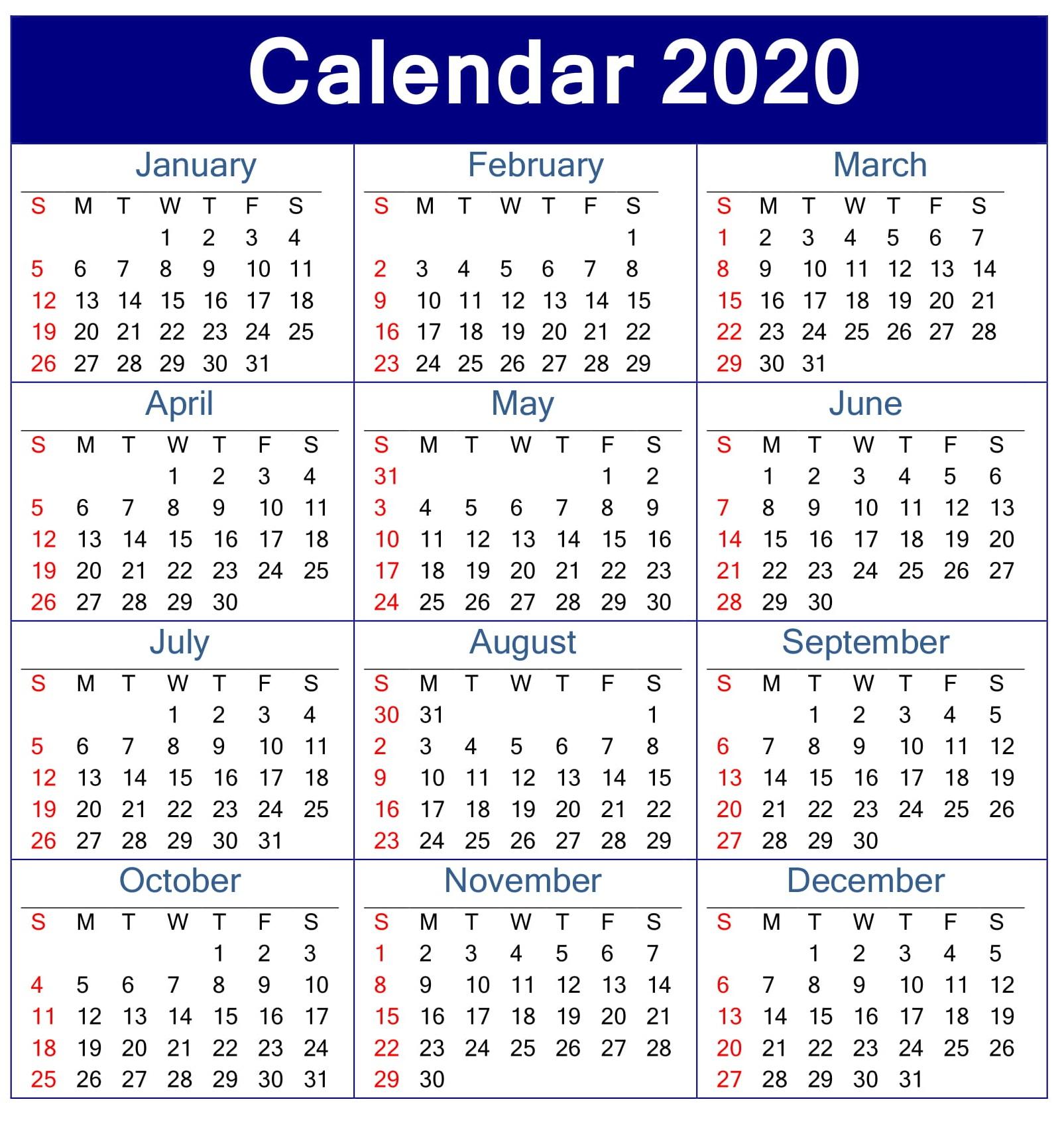 Printable Calendar 2020 Pdf Template – Free Latest Calendar