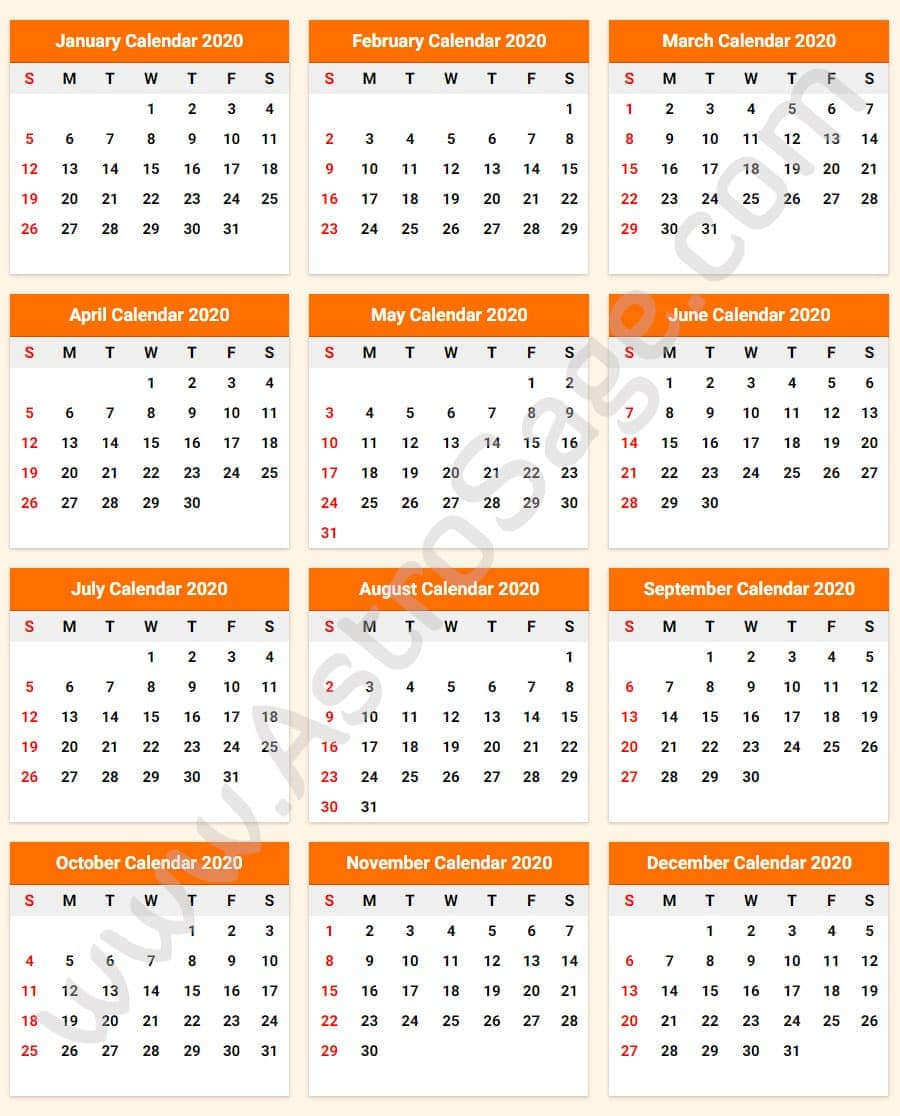 Printable Calendar 2020 With Holidays - Download Free