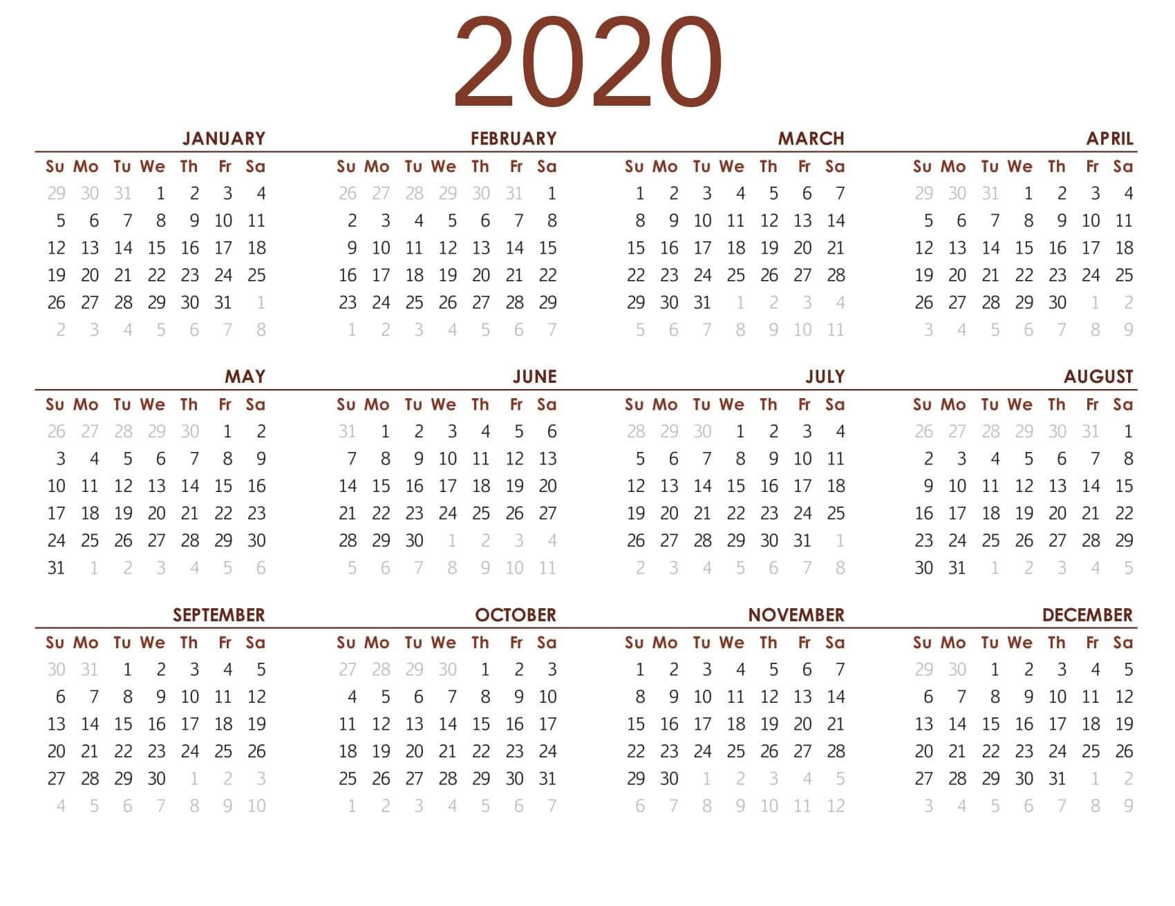 Printable Calendar 2020 With Notes - 2019 Calendars For