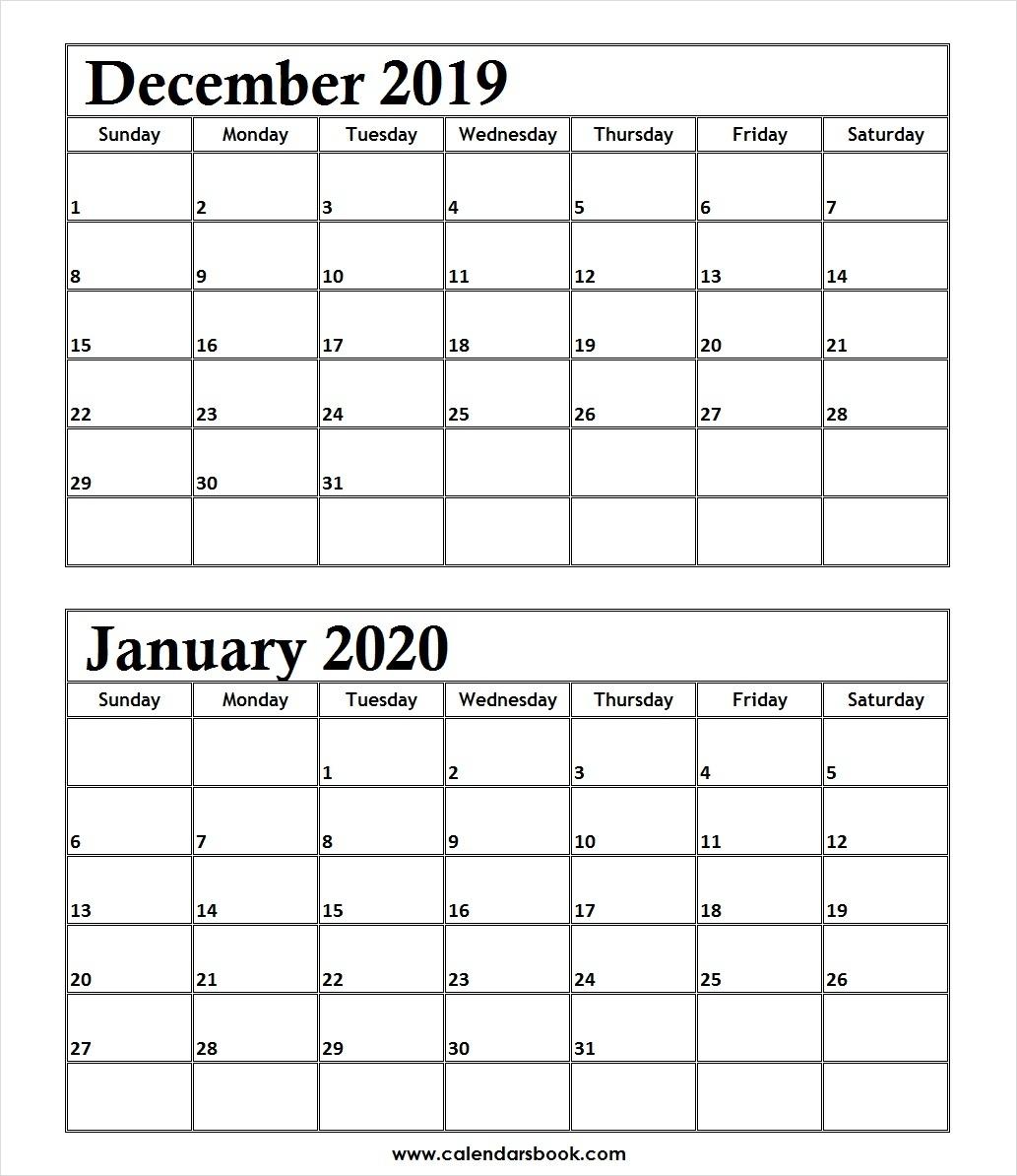 Printable Calendar December 2019 And January 2020 | Calendar