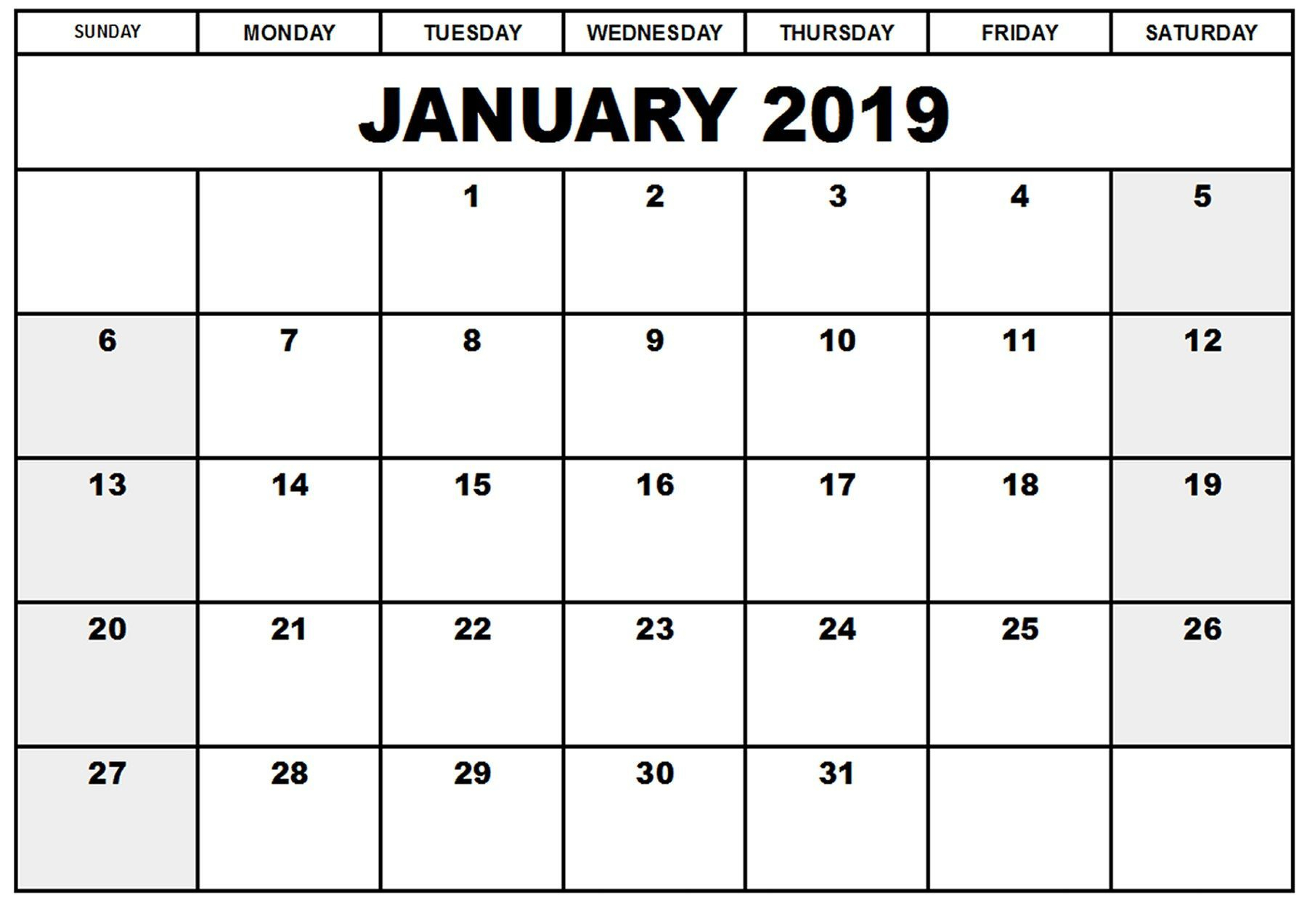 Printable Calendar January 2019 | Calendar March, Printable