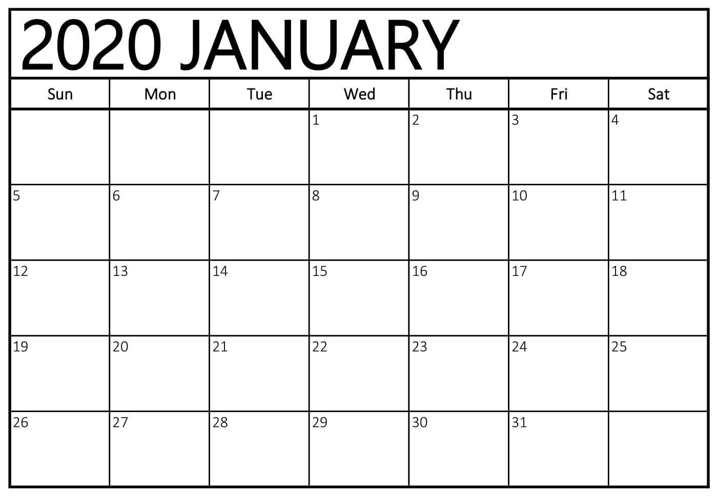 Printable Calendar January 2020 Pdf - 2019 Calendars For