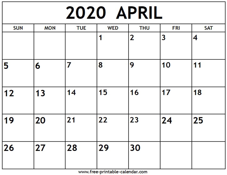 Printable Calendars April 2020 - Togo.wpart.co