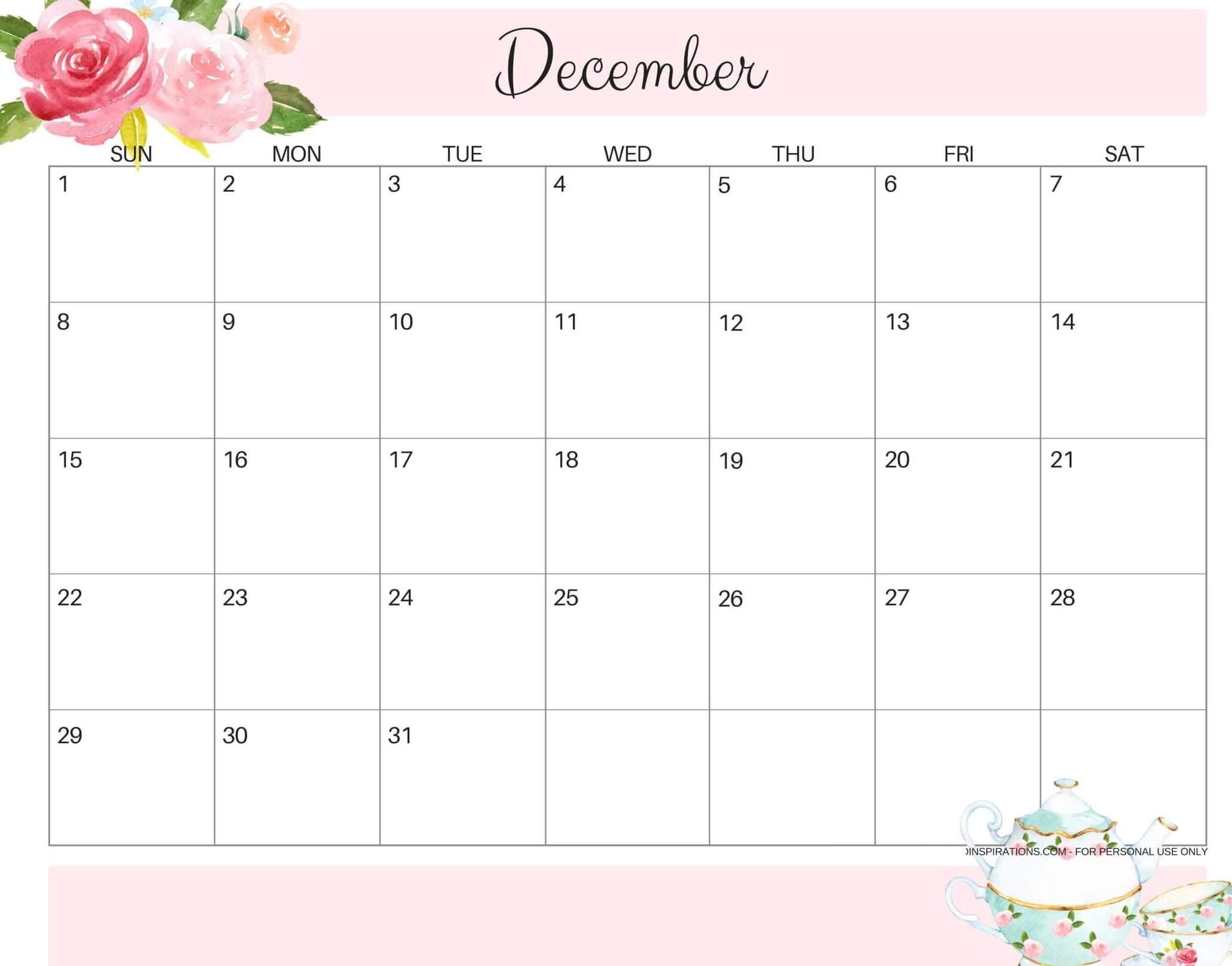 Printable Cute December 2019 Calendar Images - Set Your Plan