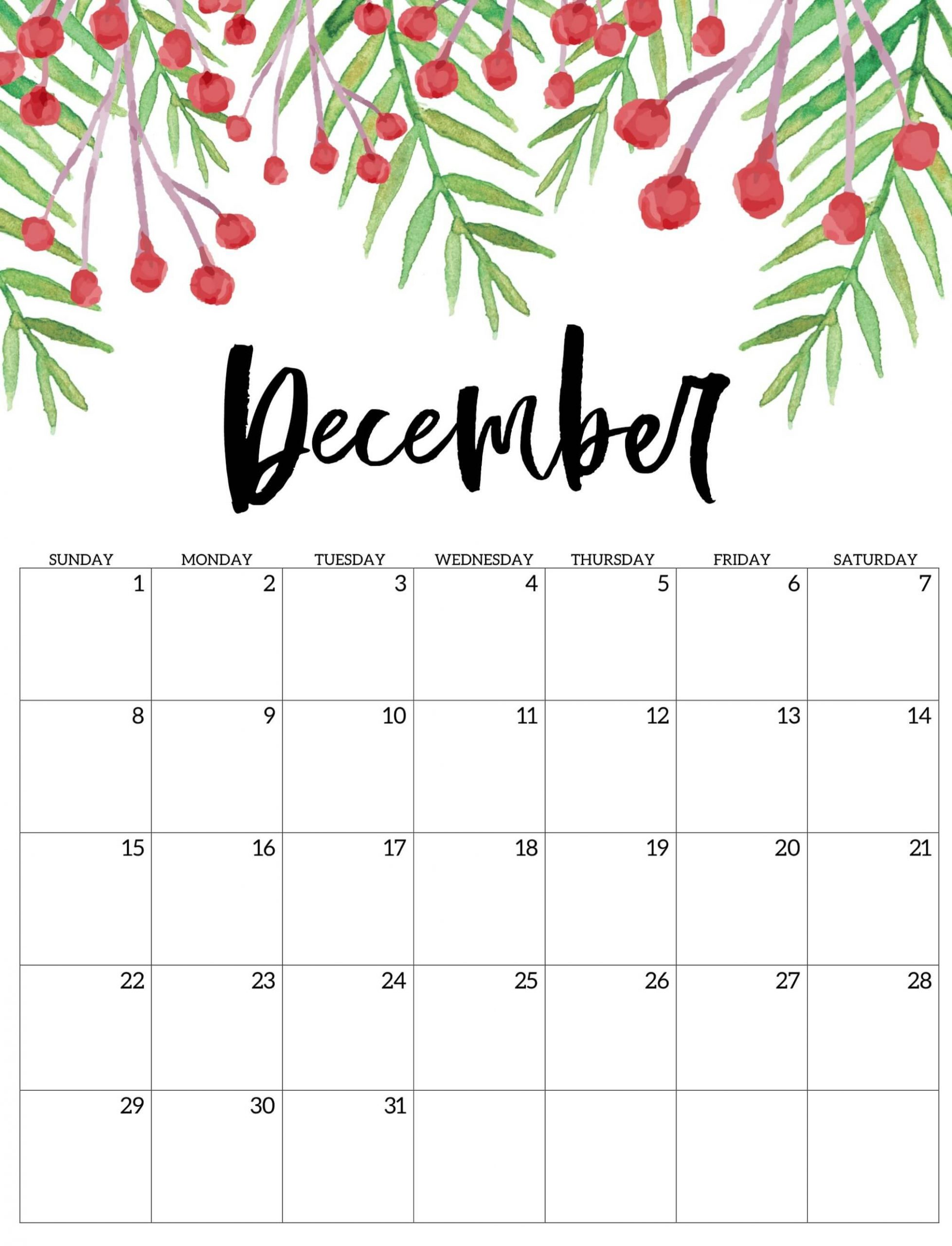 Printable Cute December 2019 Calendar Images - Set Your Plan