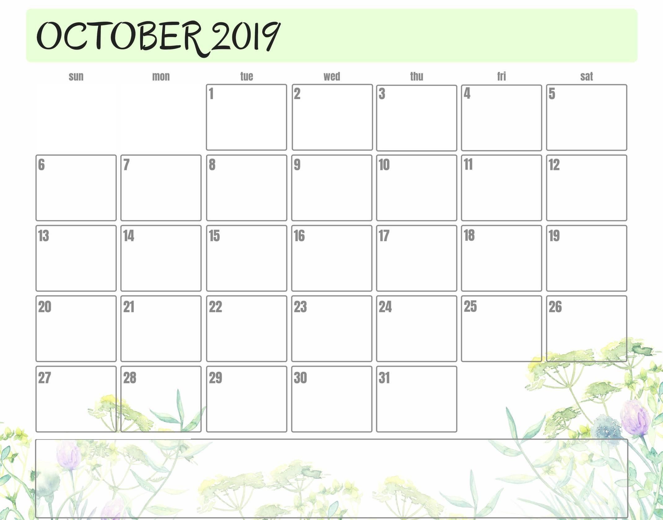 Printable Cute October 2019 Calendar Colorful Template - Set