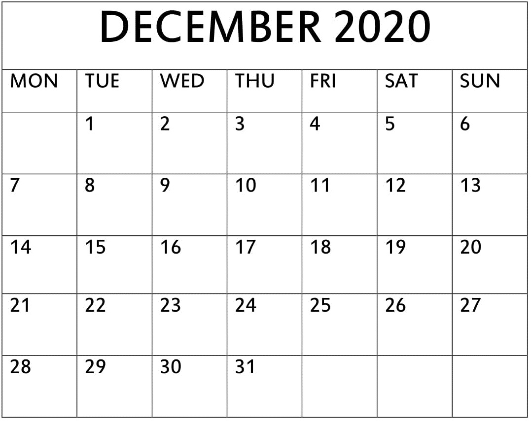Printable December 2020 Calendar One Page – Free Latest