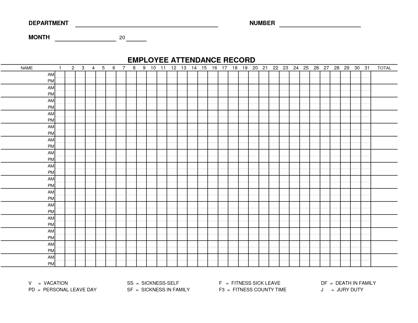 Printable Employee Attendance Sheet Template | Form 15