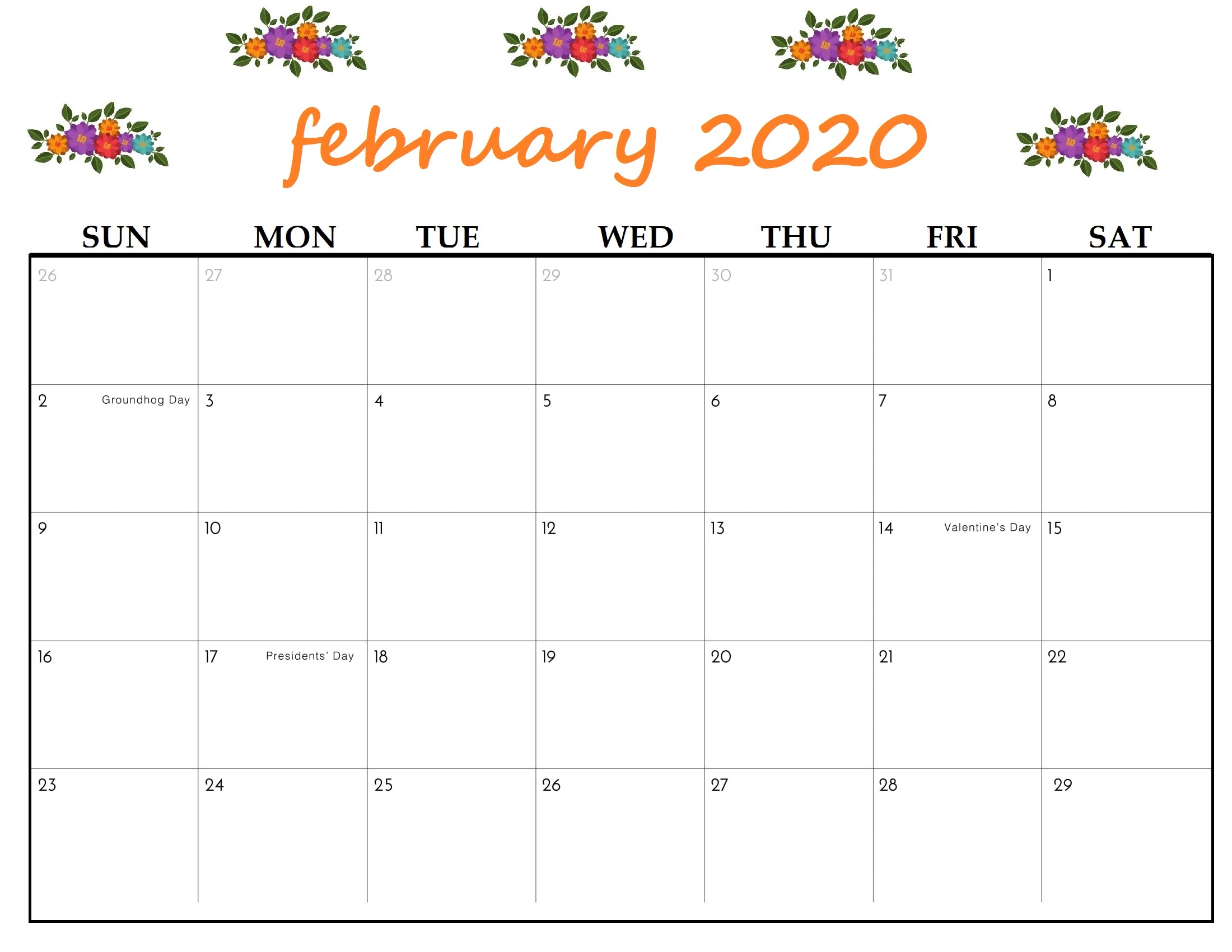 Printable February 2020 Calendar - Calendar-Kart