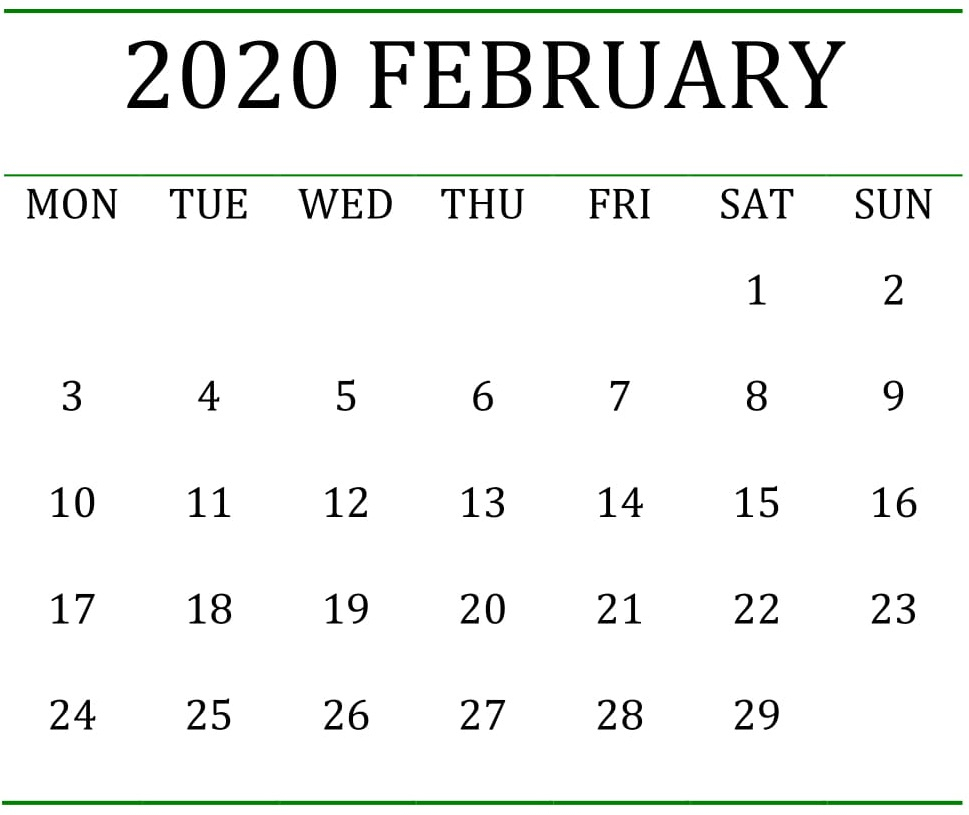 Printable February 2020 Calendar Pages Large Print – Free