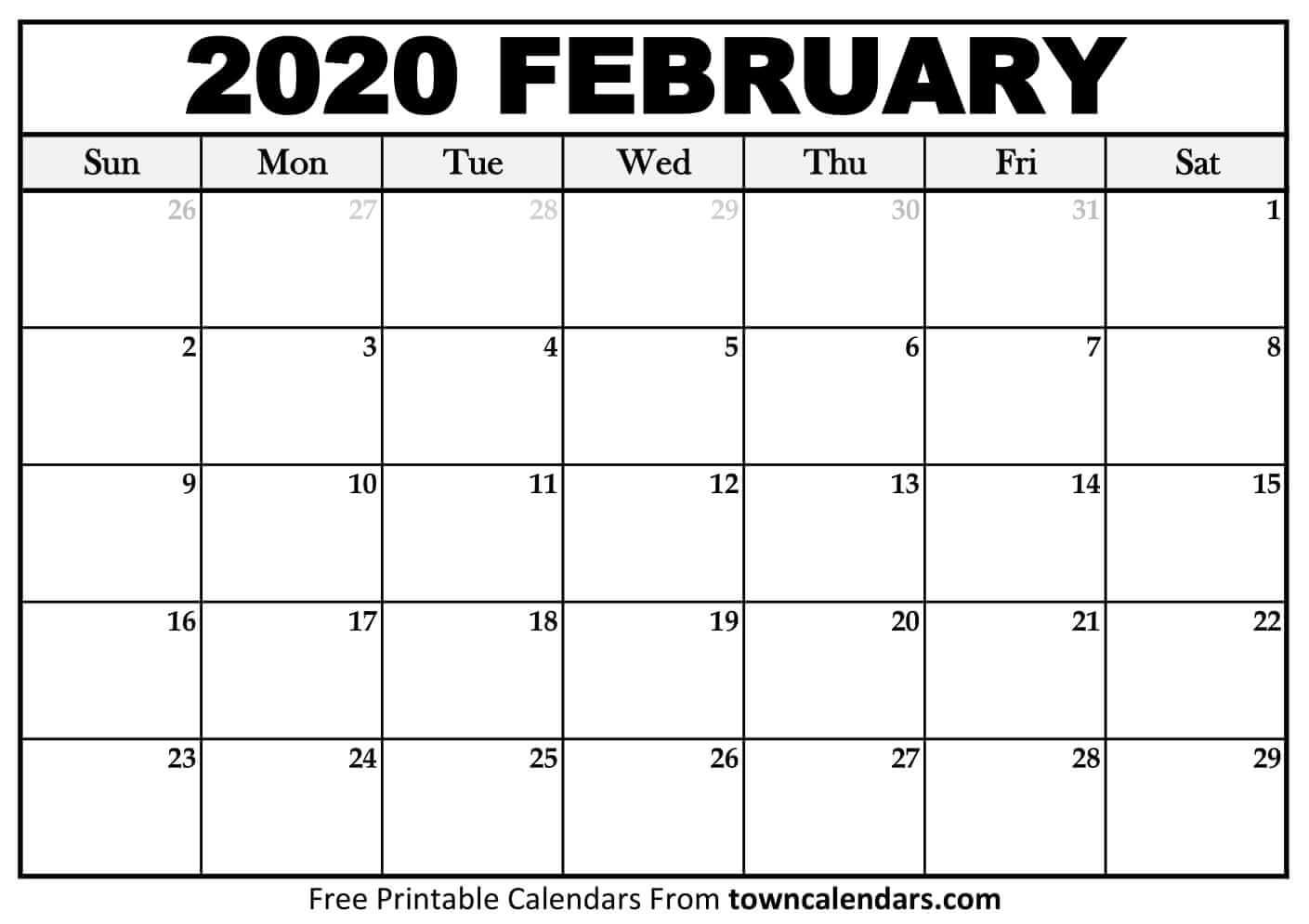 Printable February 2020 Calendar – Towncalendars – Printable