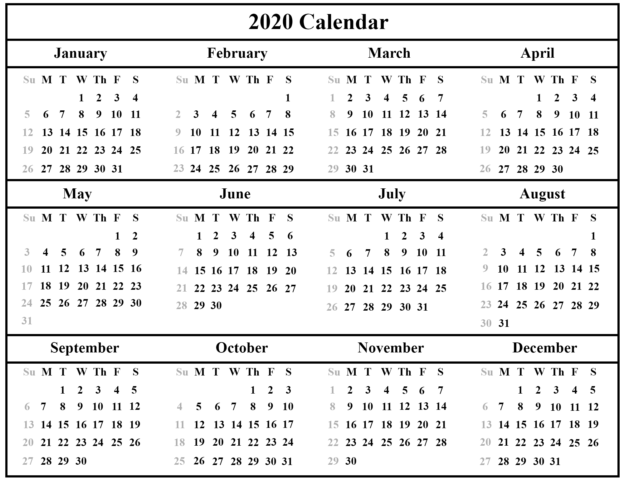 Printable Free Download Indonesia Calendar 2020 [Pdf, Excel