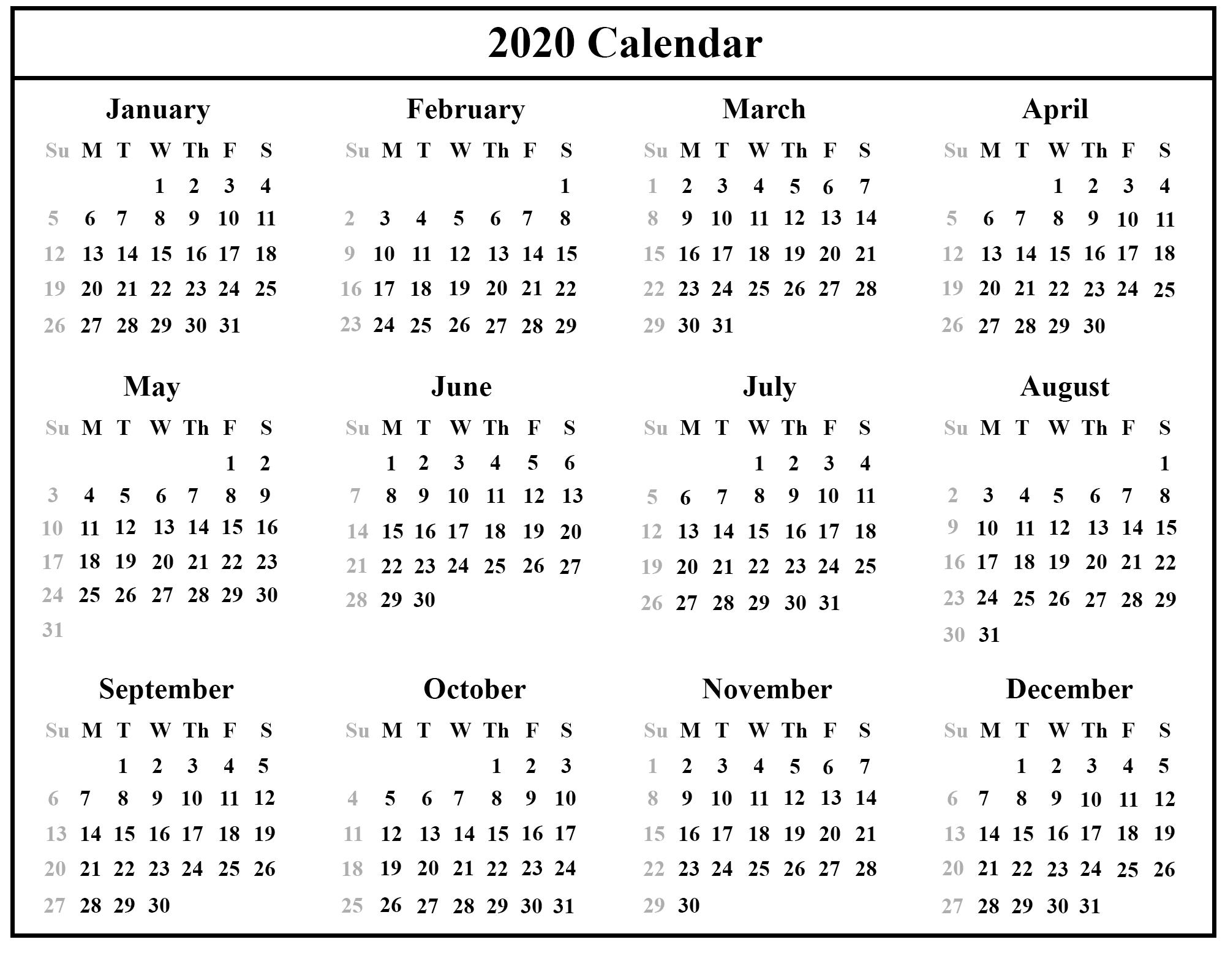 Printable Free Download Singapore Calendar 2020 [Pdf, Excel