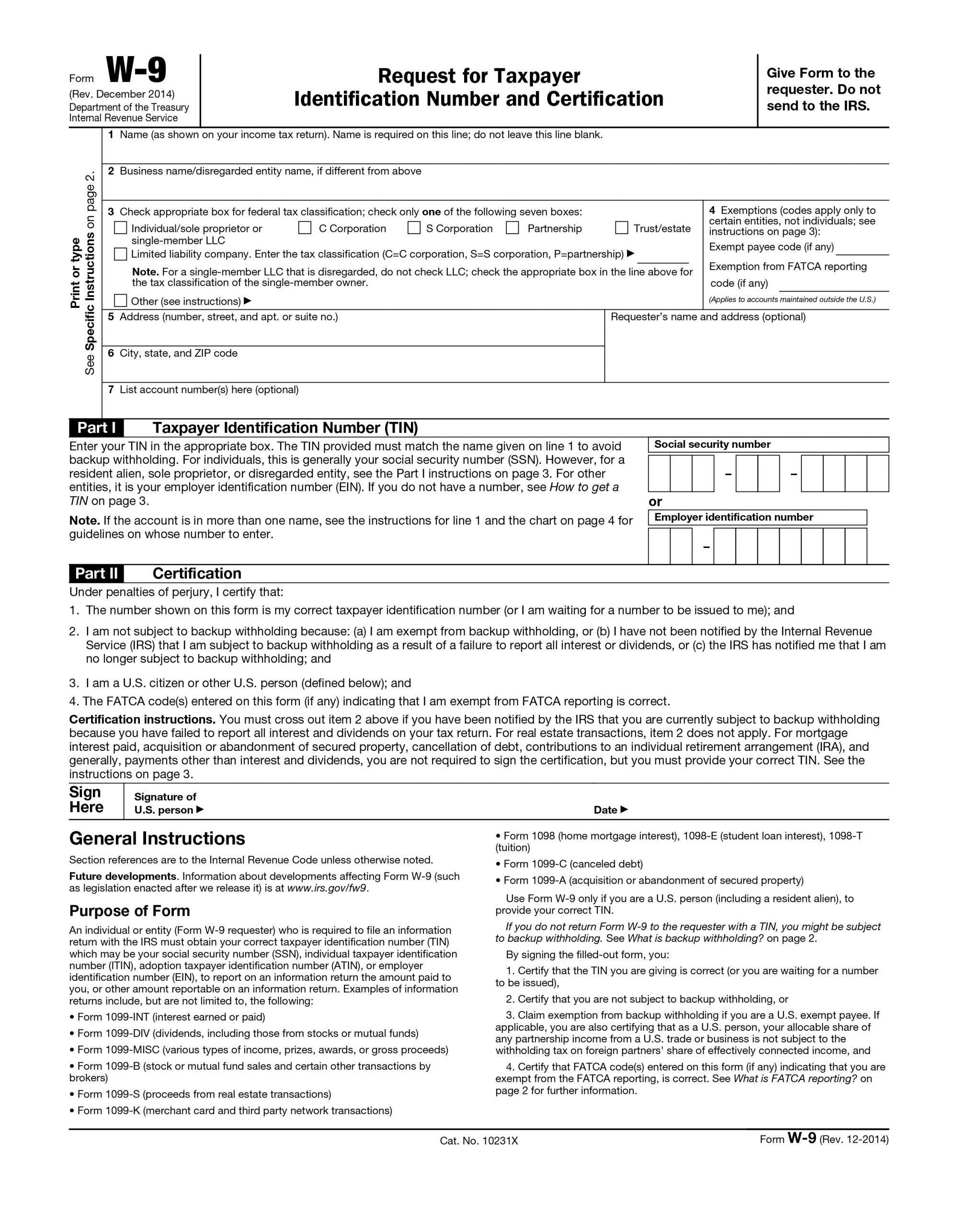 Printable Irs W-9 Blank 2019 - 2020 For Free Use
