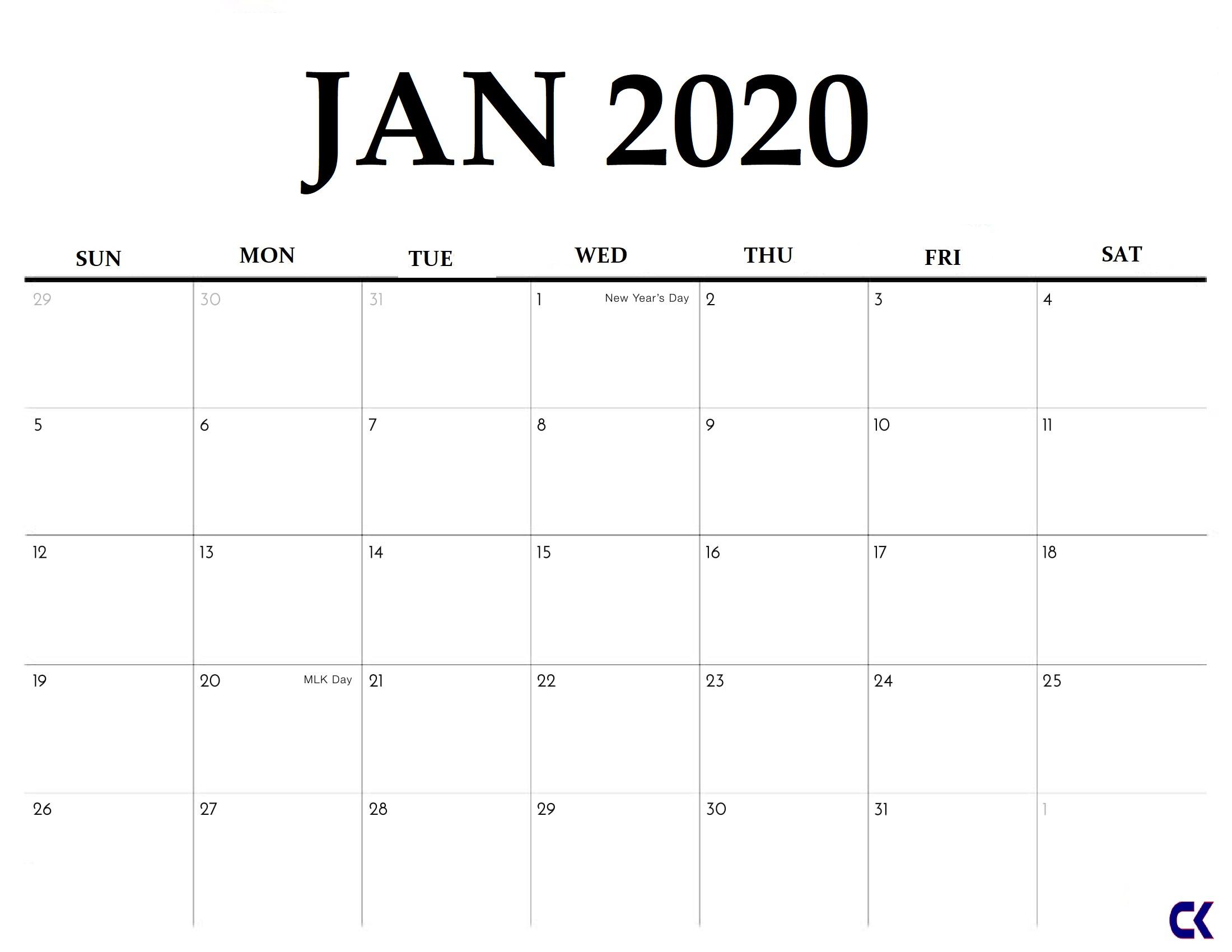 Printable January 2020 Calendar - Calendar-Kart