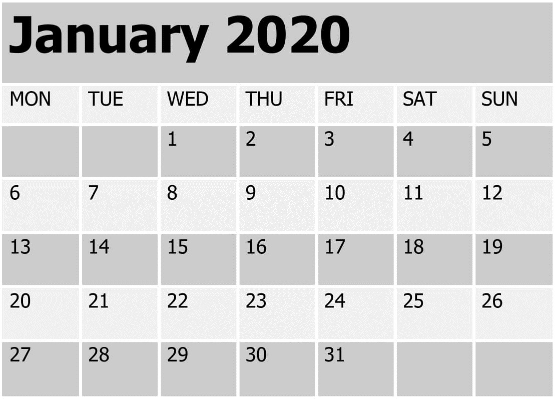 Printable January 2020 Calendar – Daily Planner | 12 Month