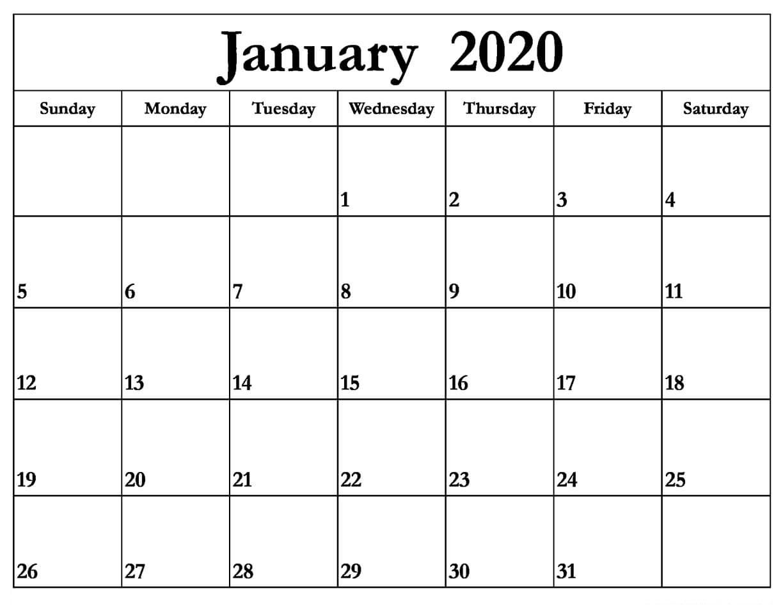 Printable January 2020 Calendar – Daily Planner | 12 Month