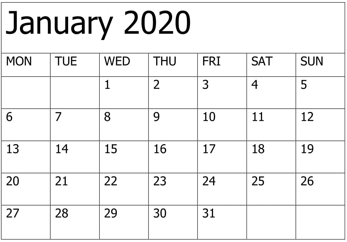 Printable January 2020 Calendar Editable Pages – Free Latest