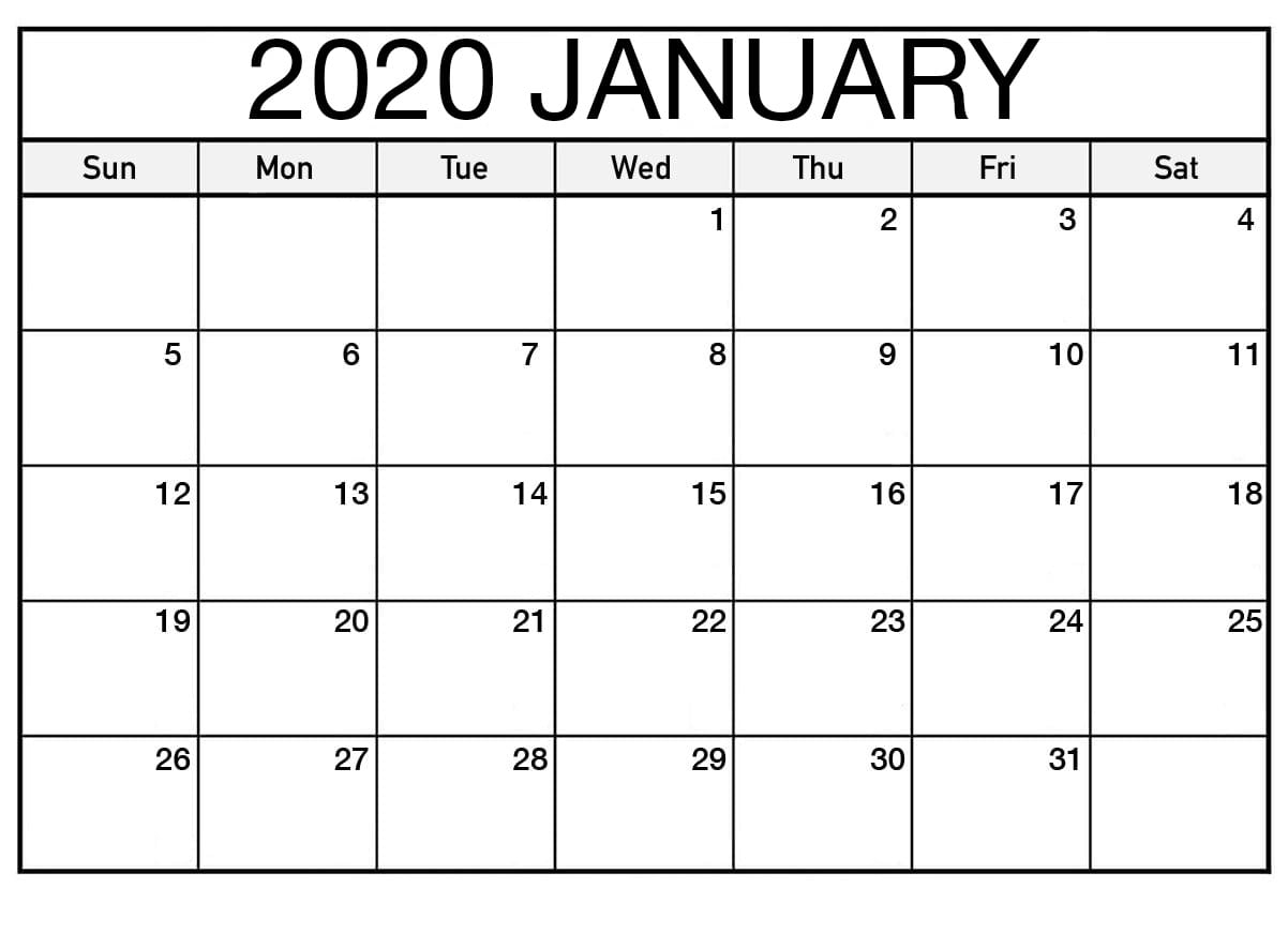 Printable January 2020 Calendar Free | Printable Calendar