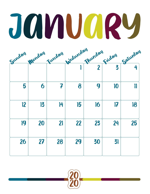 Printable January 2020 Calendar Template For Office & Home