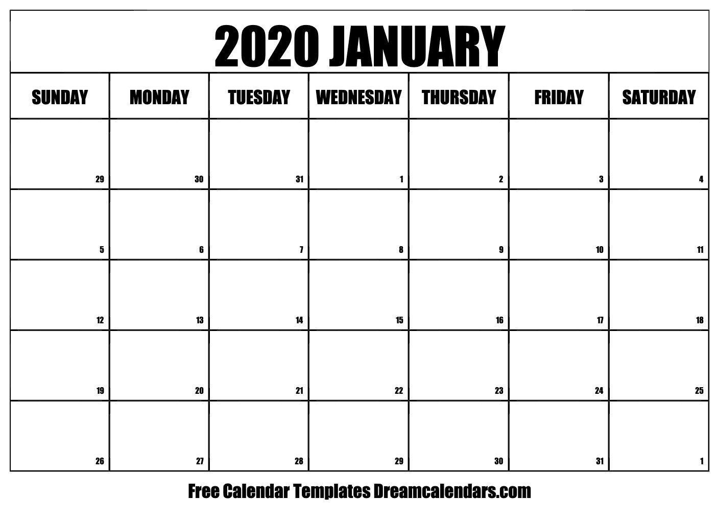 Printable January 2020 Calendar Templates - Helena Orstem
