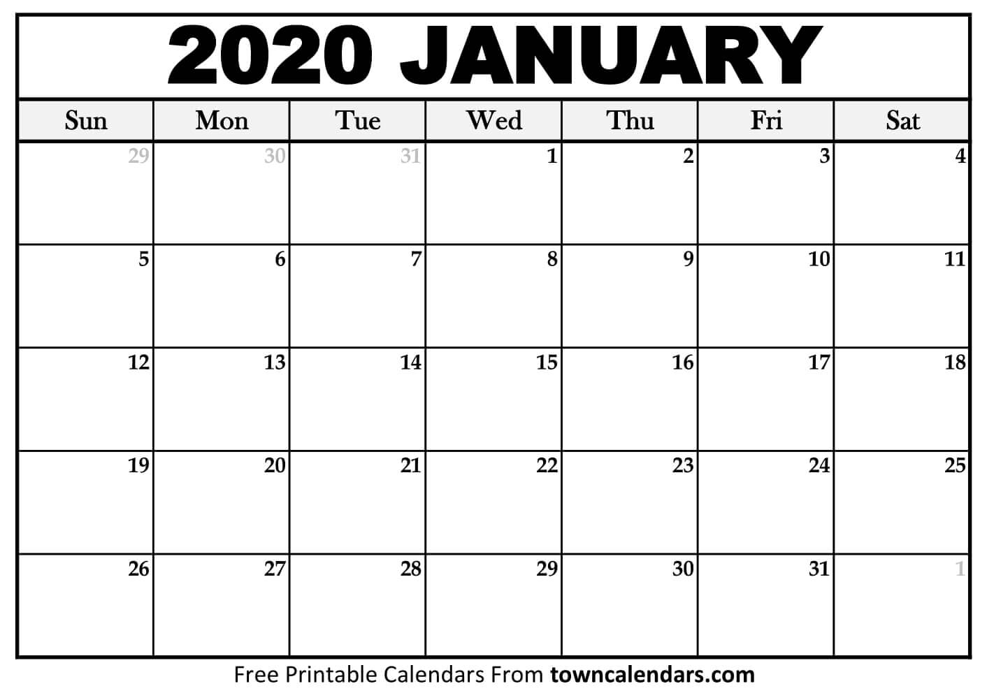 Printable January 2020 Calendar - Towncalendars