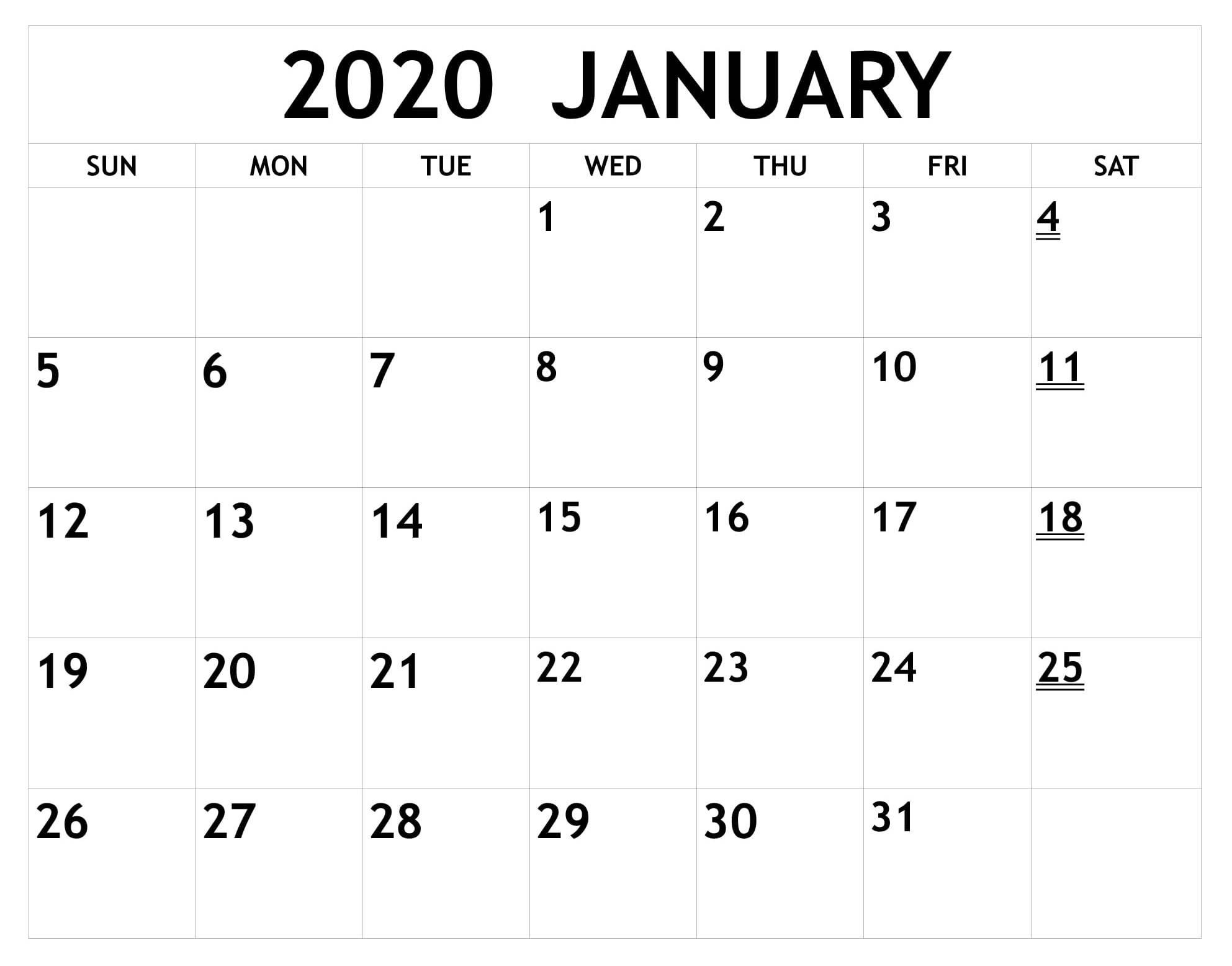 Printable January Calendar 2020 Word - 2019 Calendars For