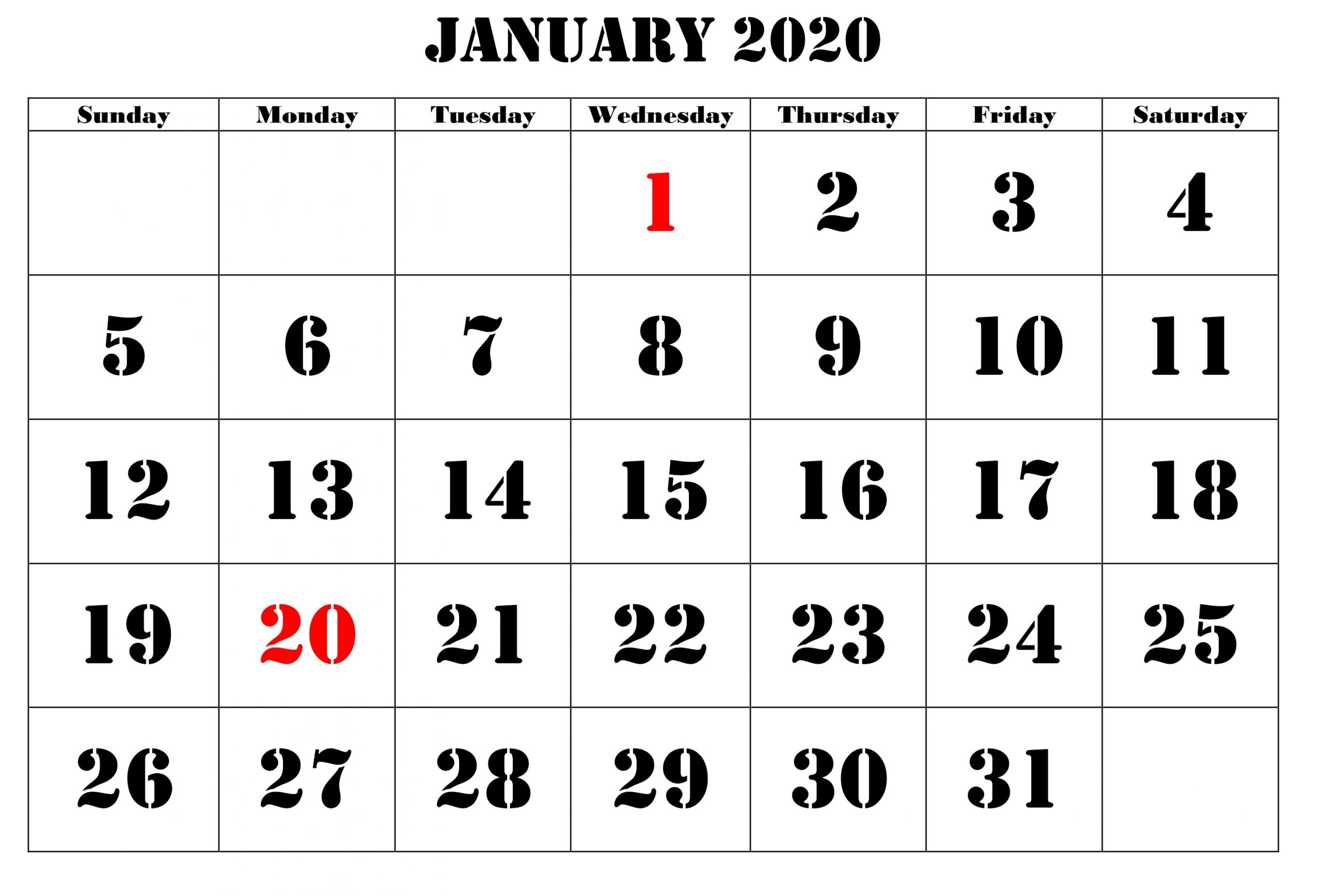 Printable January Calendar For 2020- Beautiful Online