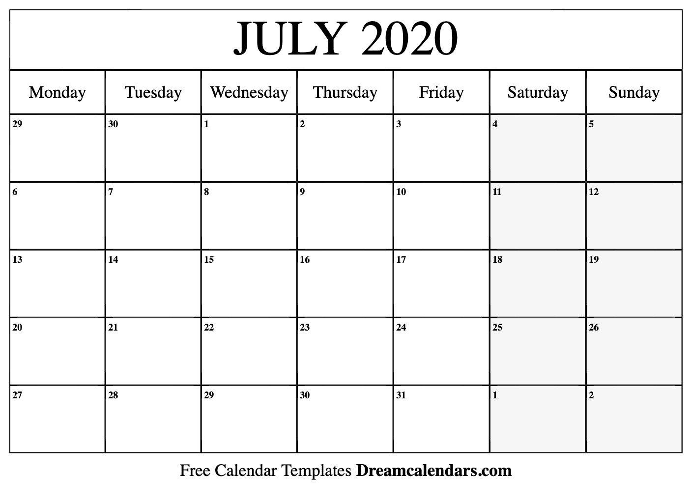 Printable July 2020 Calendar – Monthly Template Download