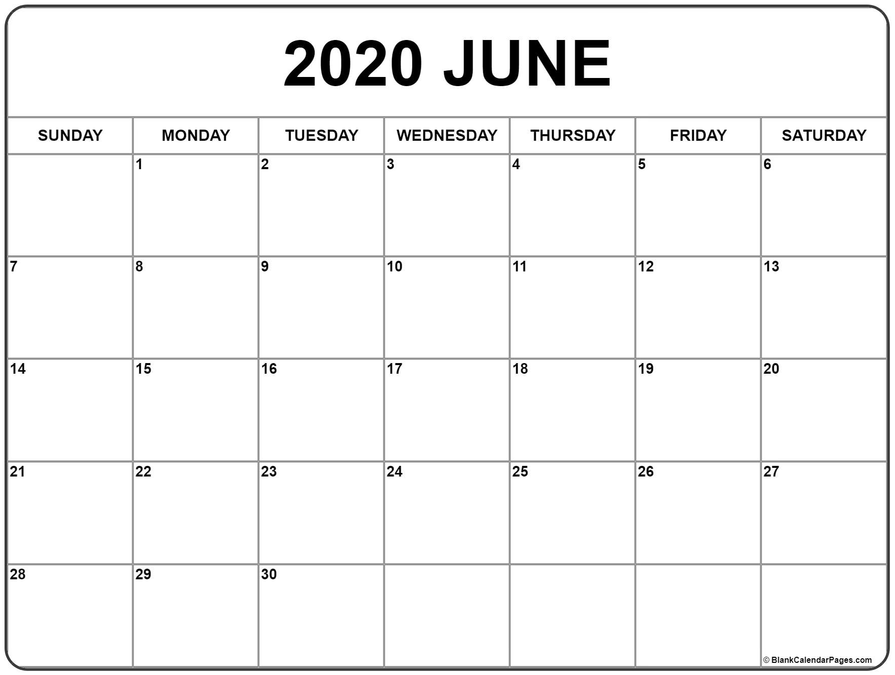Printable June Calendar 2020 - Togo.wpart.co