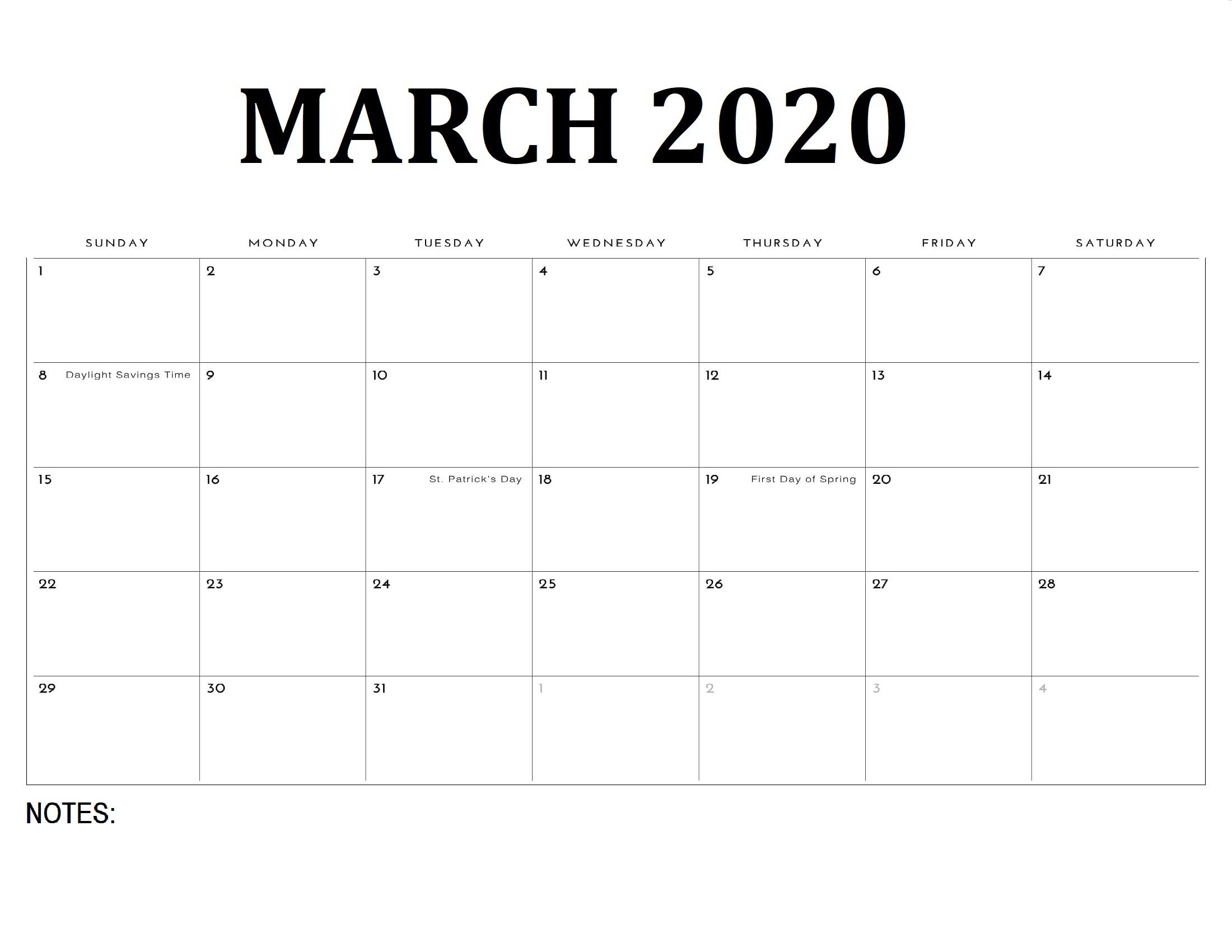 Printable March 2020 Calendar - Calendar-Kart