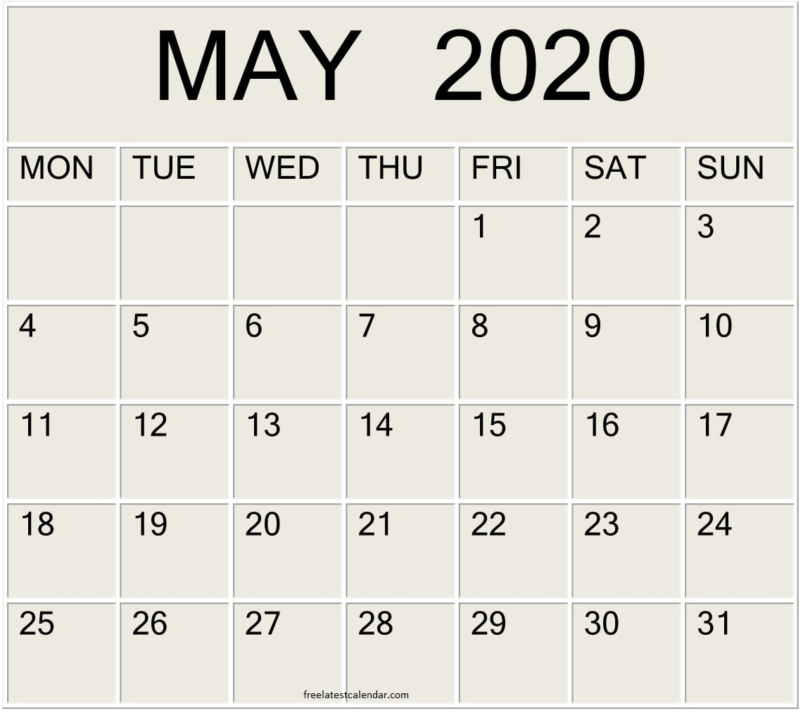 Printable May 2020 Calendar Large Print – Free Latest
