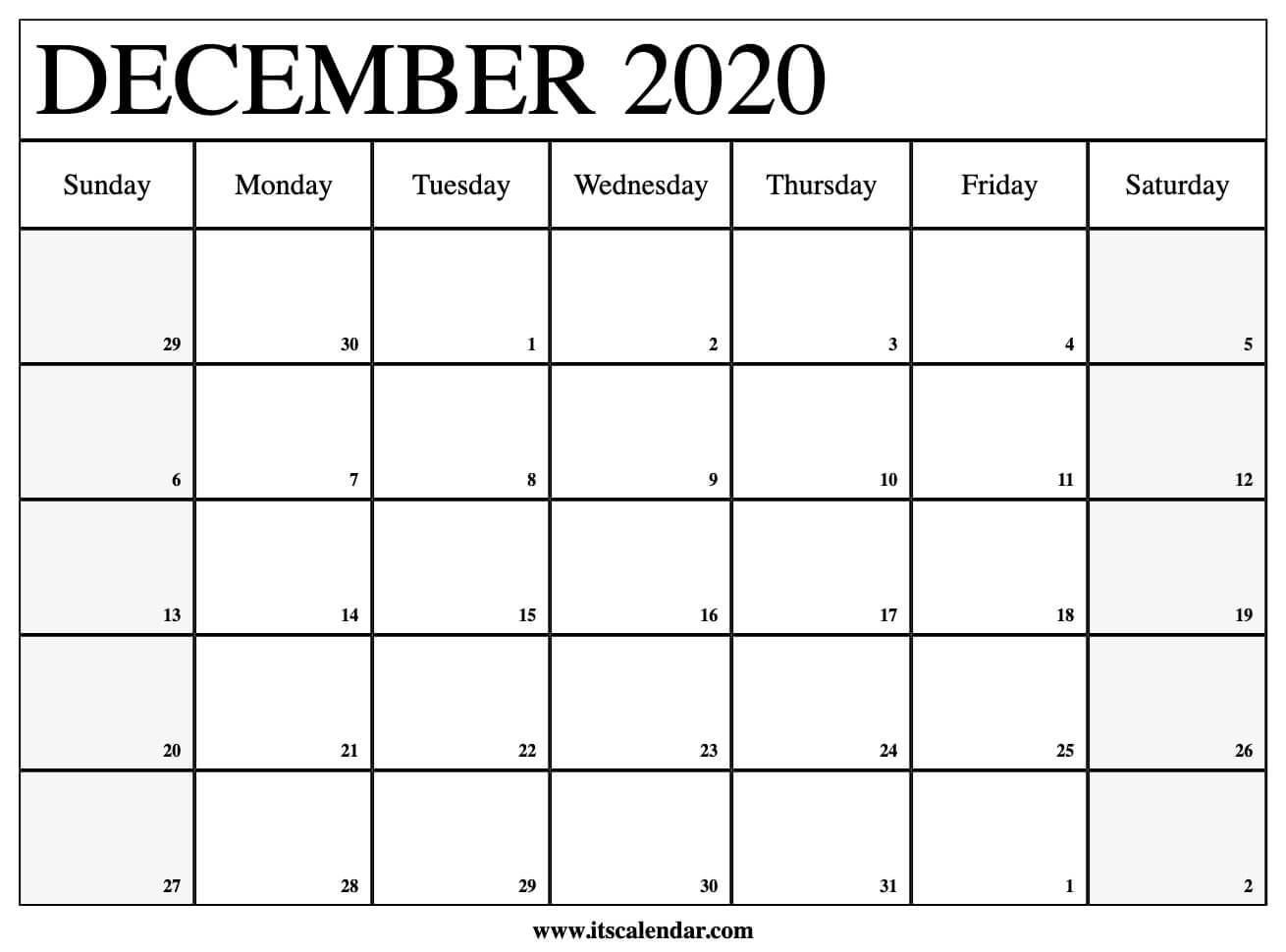 Printable Monthly Calendar December 2020 - Togo.wpart.co