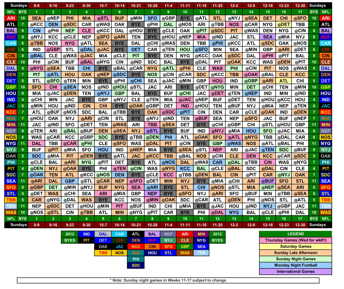 Get Printable Nfl Schedule By Week