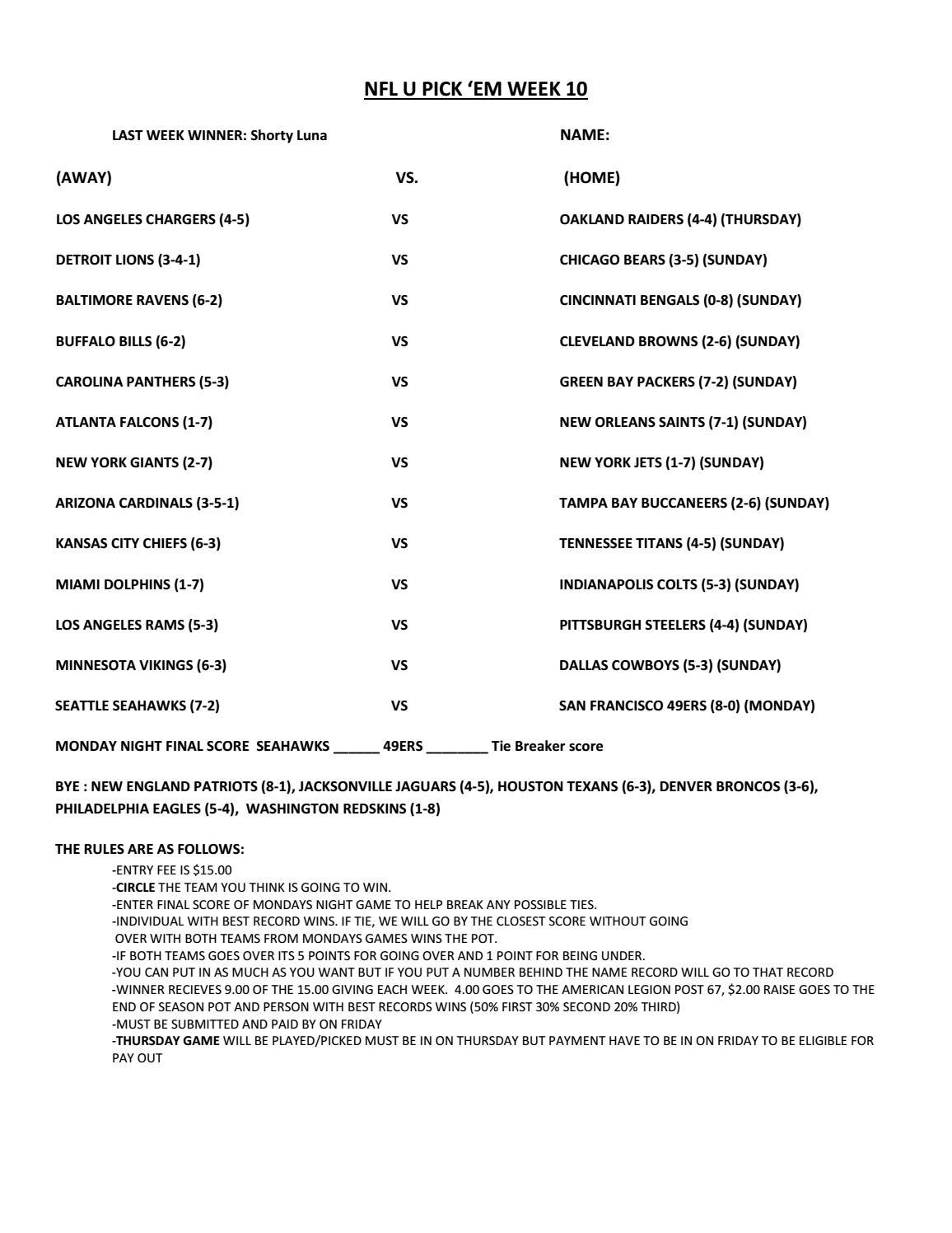 Printable Nfl Weekly K Em Sheets Week Page Pick Master Sheet