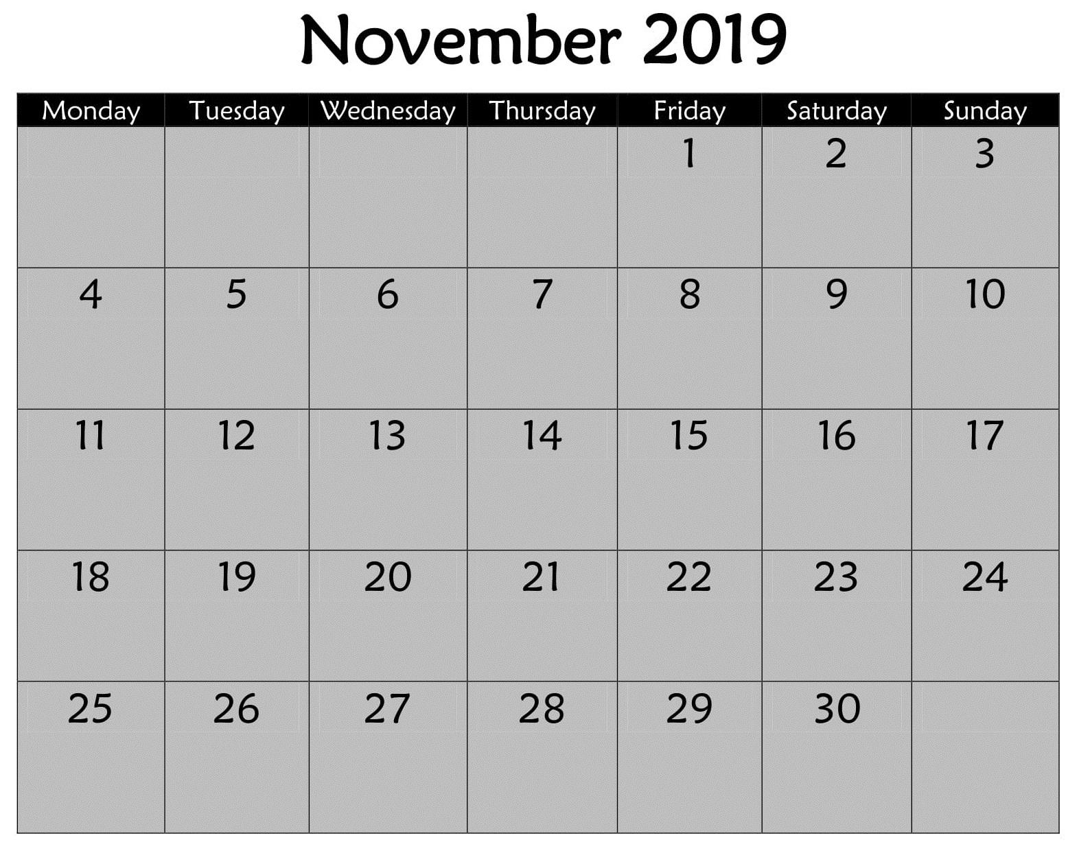 Printable November 2019 Calendar Planner Pages - Latest