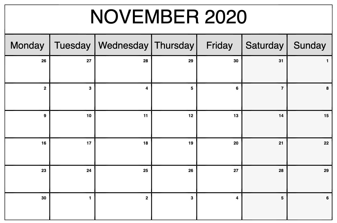 Printable November 2020 Calendar | November Calendar