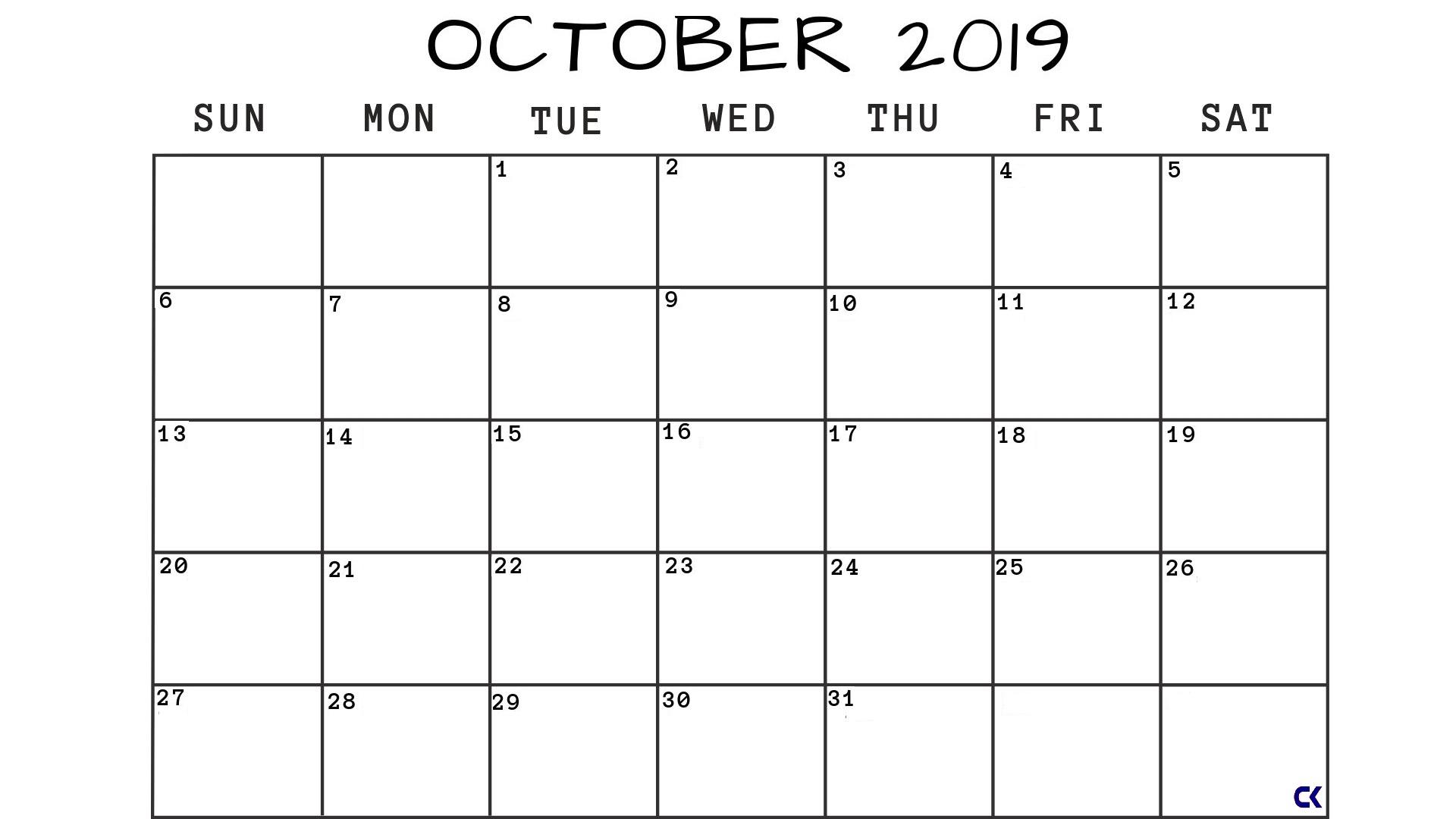 Printable October 2019 Calendar Pdf Template - Calendar-Kart