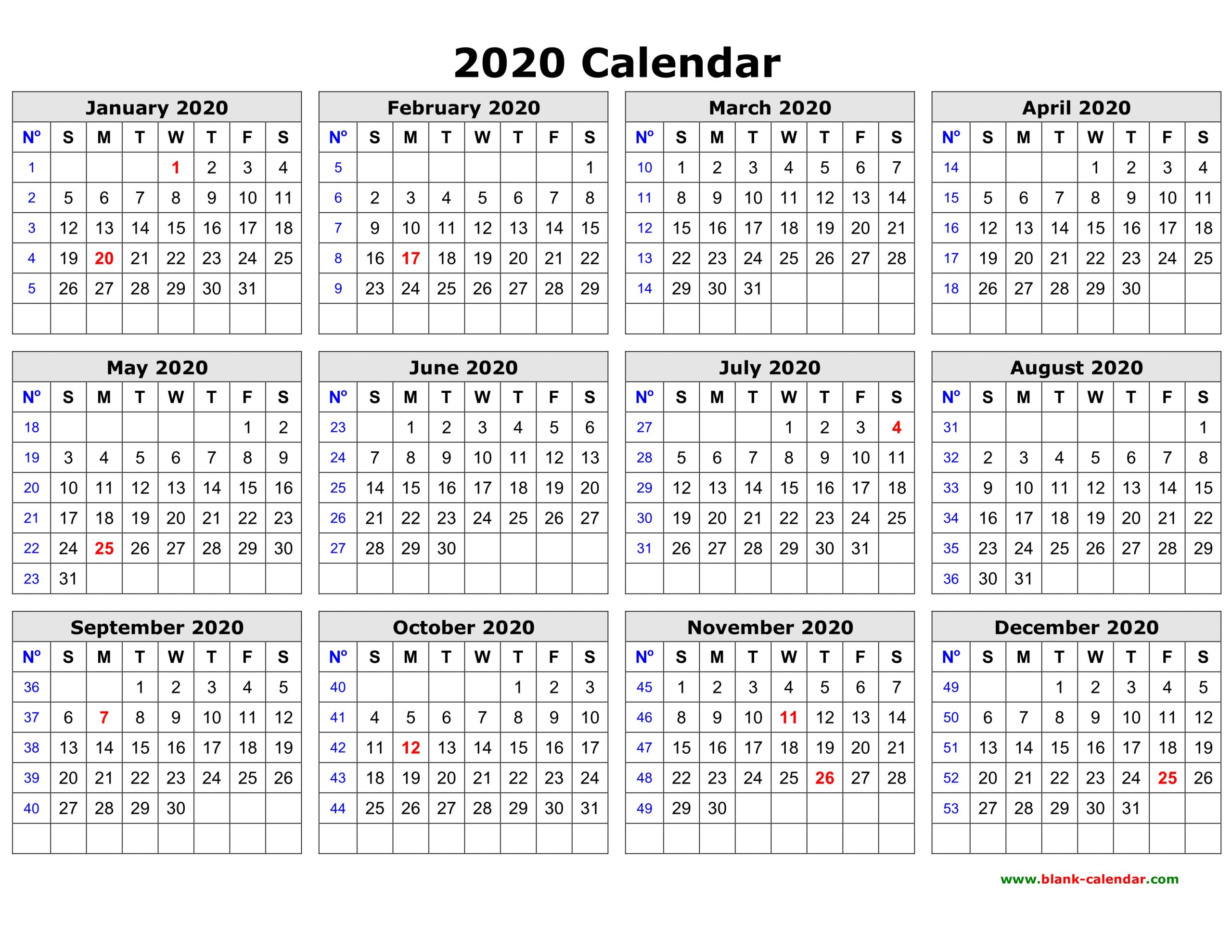 Printable One Page 2020 Calendar - Togo.wpart.co