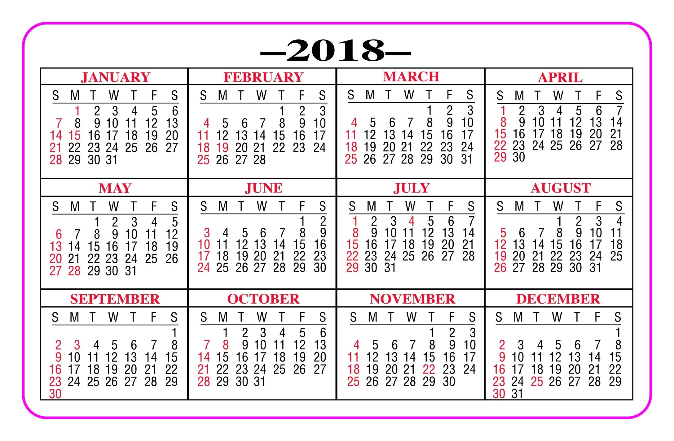 Printable Pocket Calendar 2018 - Yeniscale.co Full Year
