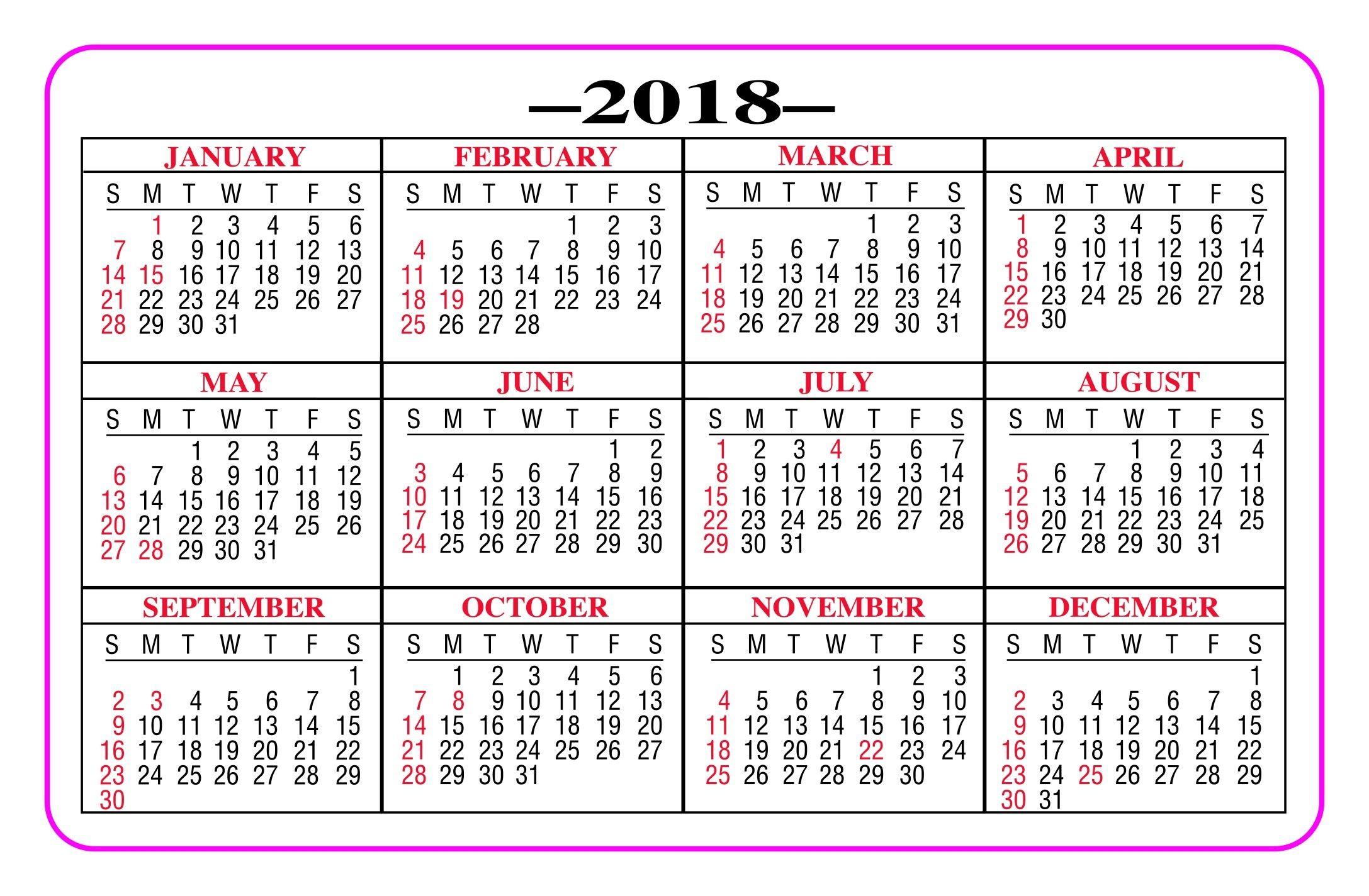 Printable Pocket Calendar 2018 - Yeniscale.co Full Year